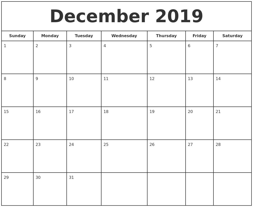 December 2019 Print Free Calendar Calendar 2019 November December