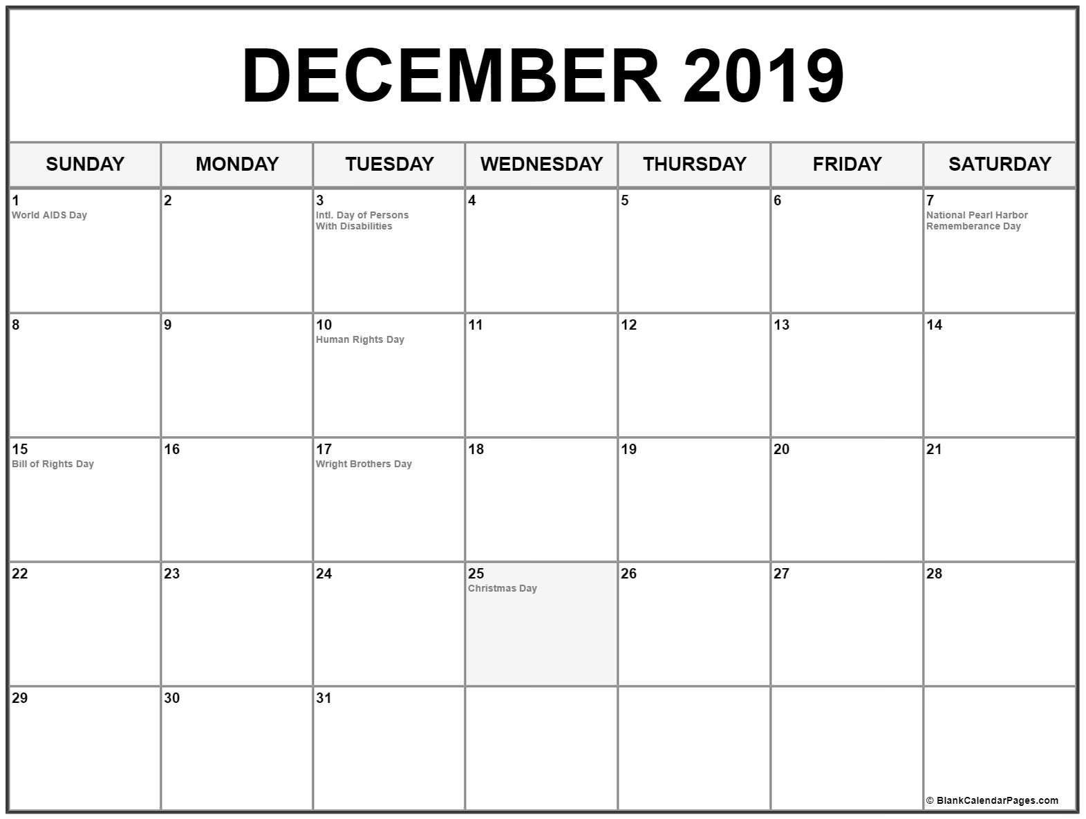 December Calendar 2019 #december #december2019 #december2019Calendar Calendar 2019 Dec