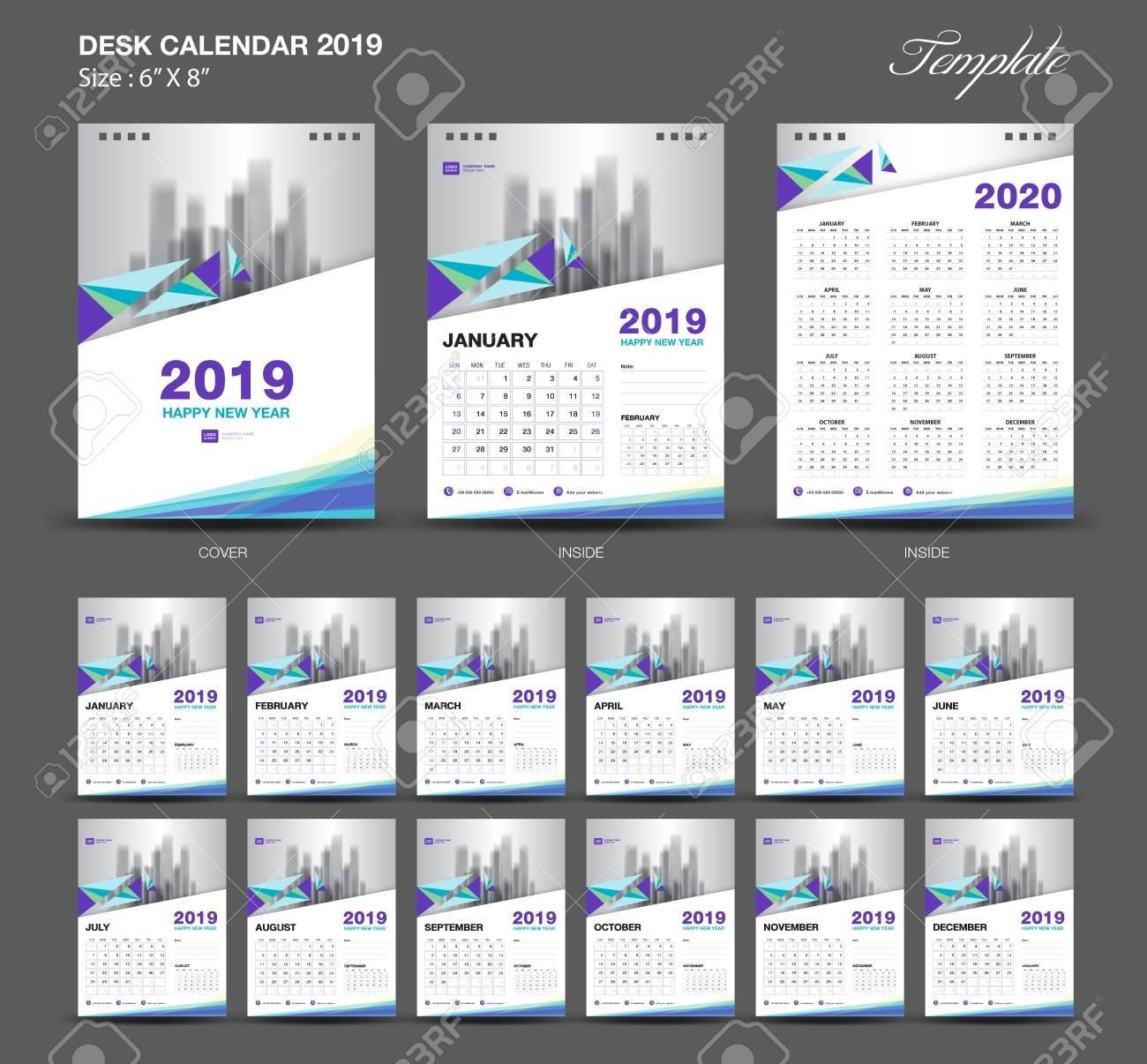 Desk Calendar 2019 Year Size 6 X 8 Inch Template, Blue Calendar X Files Calendar 2019