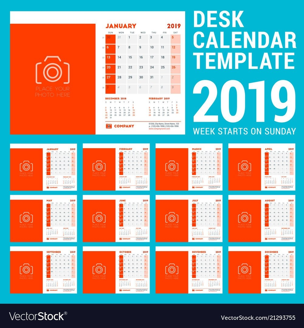 Desk Calendar Design Template For 2019 Year Week Vector Image Calendar Week 37 2019