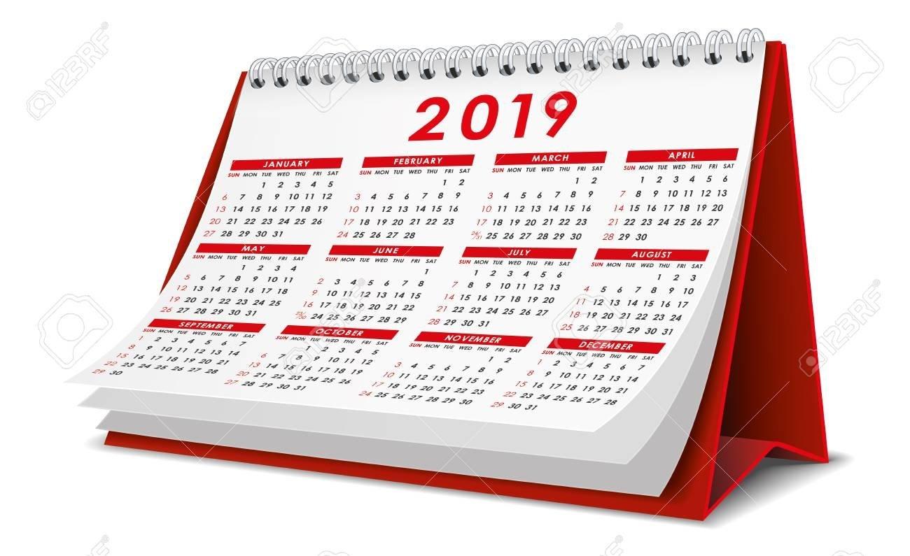 Desktop Calendar 2019 In Red Color Royalty Free Cliparts, Vectors Calendar 2019 Desktop