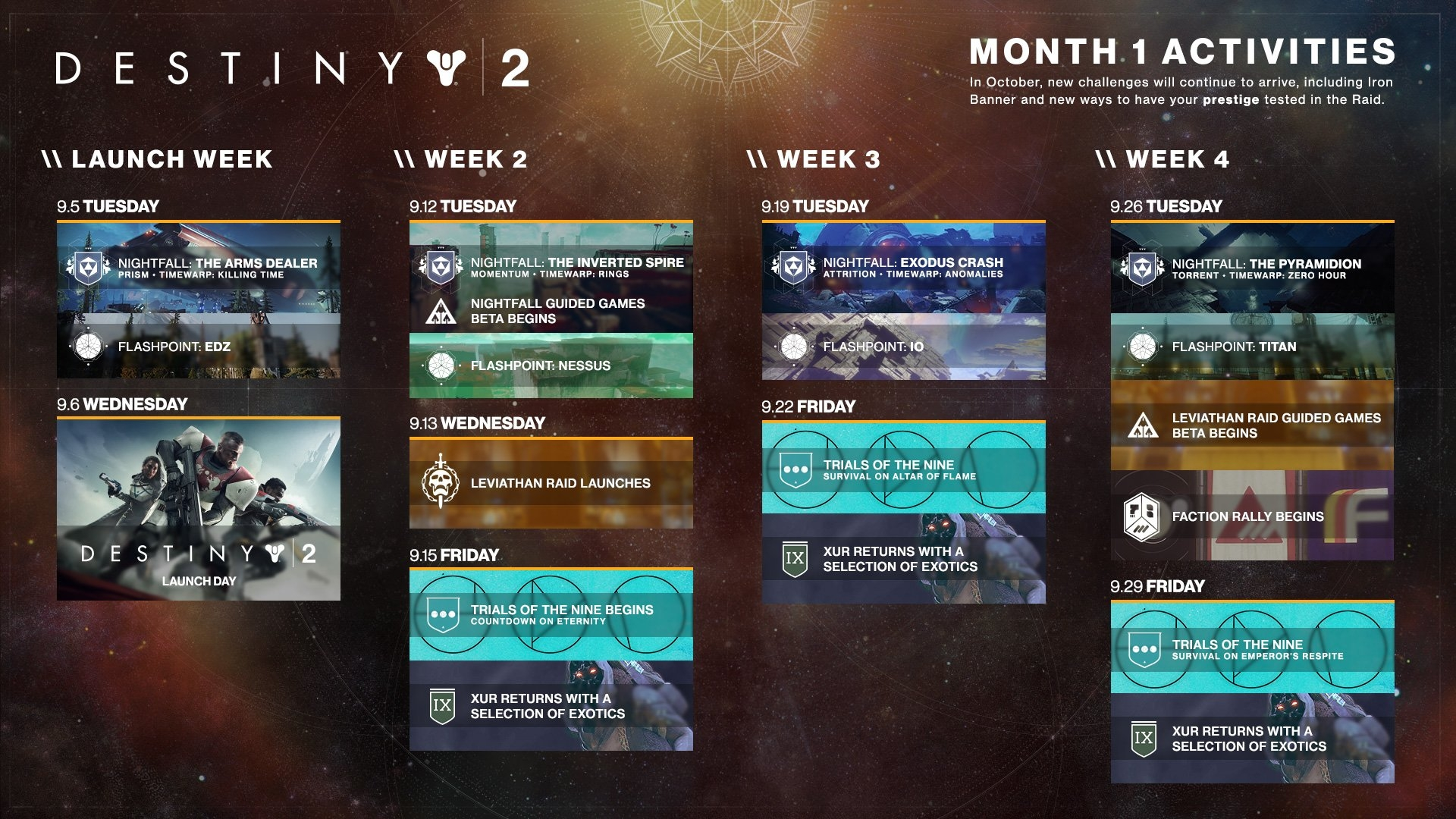 Destiny 2 Gets A Calendar Of Events, Responds To Shader Controversy Destiny 2 Calendar 2019