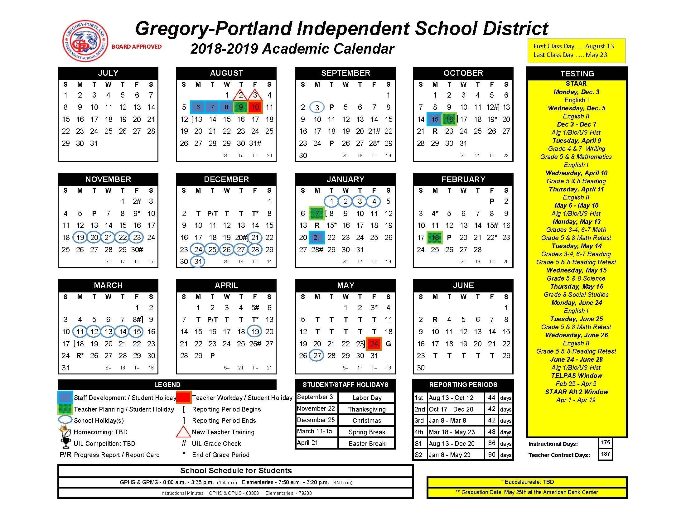 District Calendar, 2018-19 - Gregory-Portland Independent School Stephen F Austin Calendar 2019