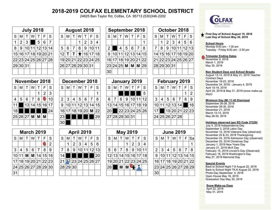 District Calendar 2018-2019 School District 8 2019 Calendar