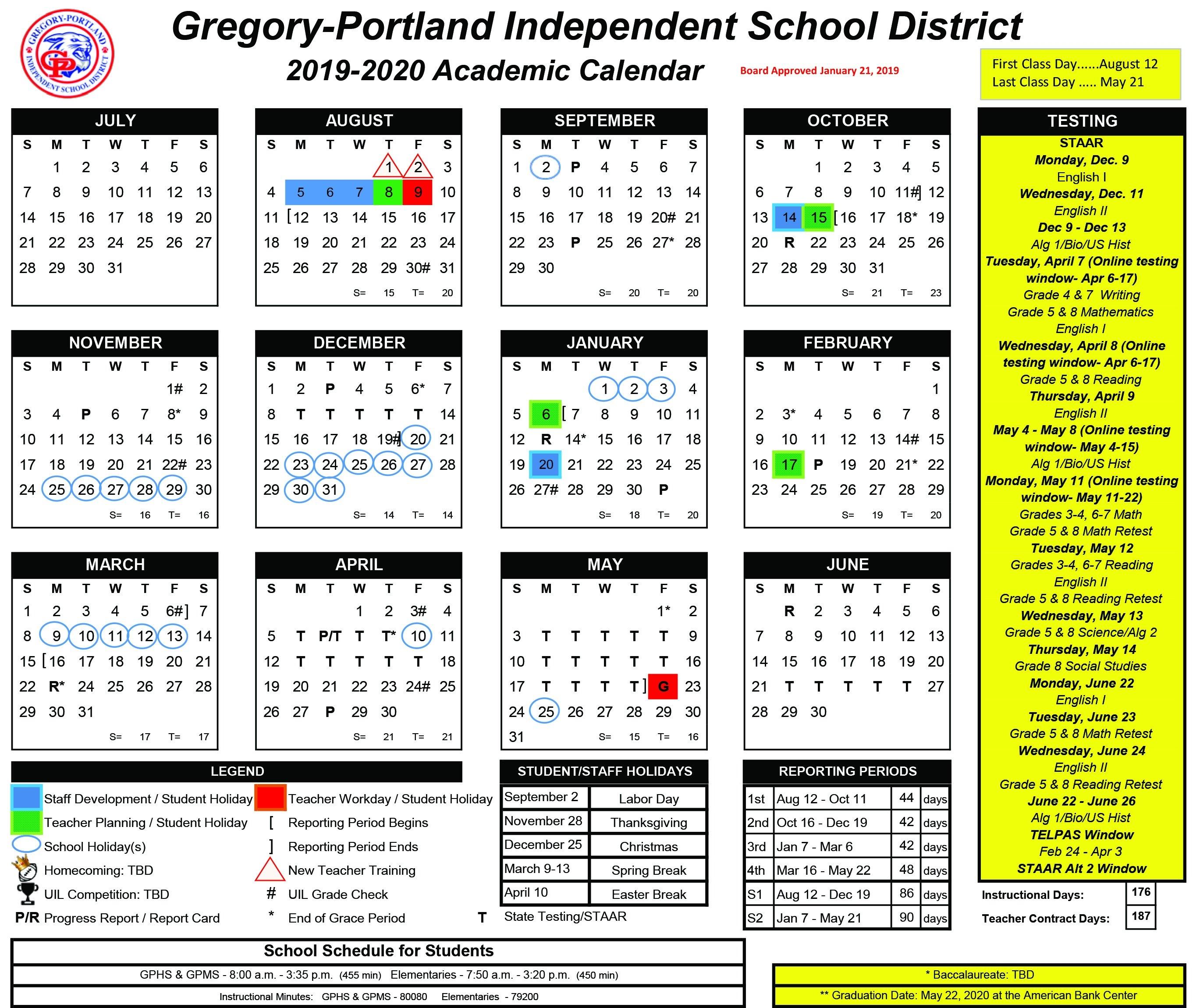 District Calendar, 2019-20 - Gregory-Portland Independent School School District 5 Calendar 2019