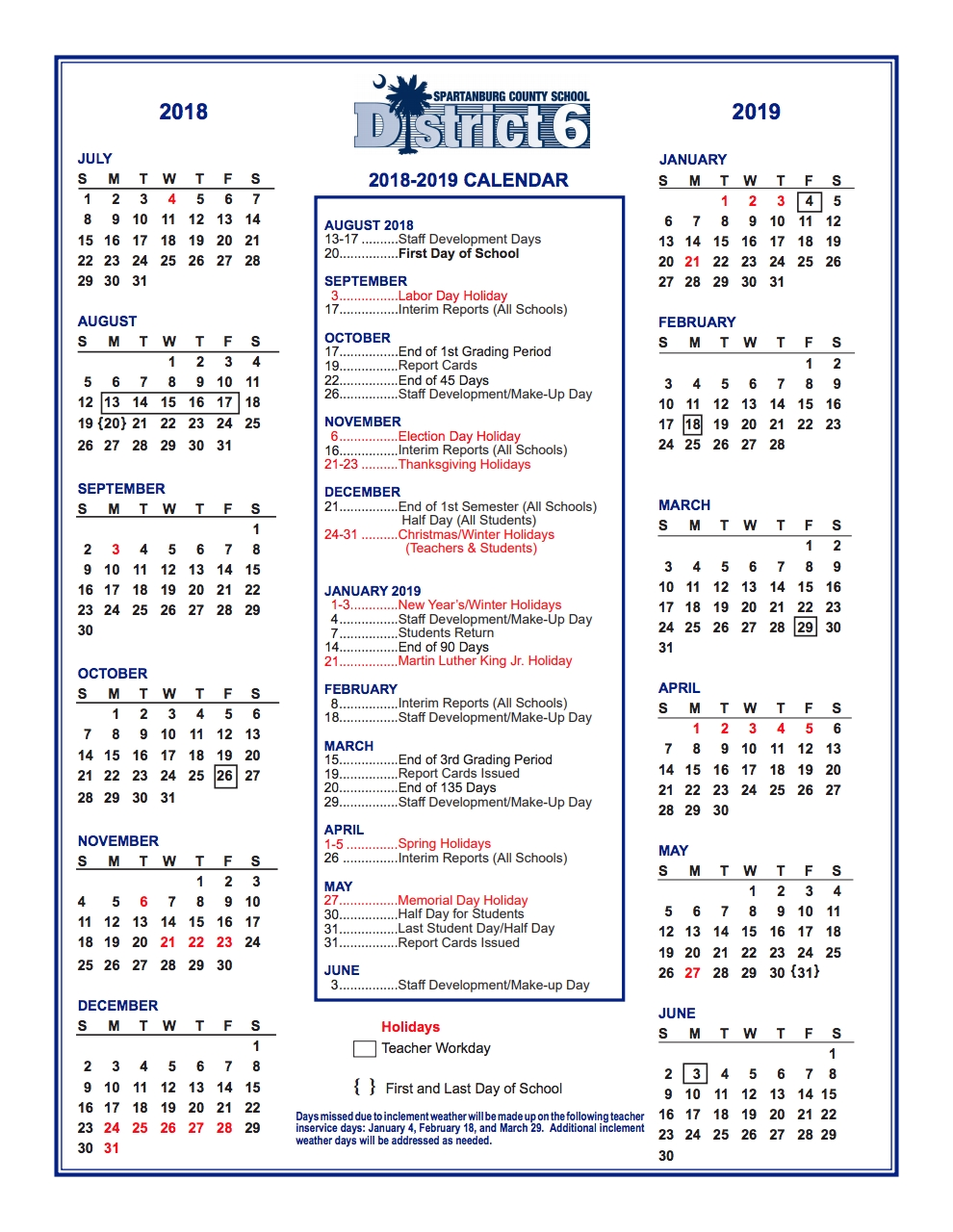 District Calendar – Students And Parents – R. P. Dawkins Middle Spartanburg District 6 2019 Calendar