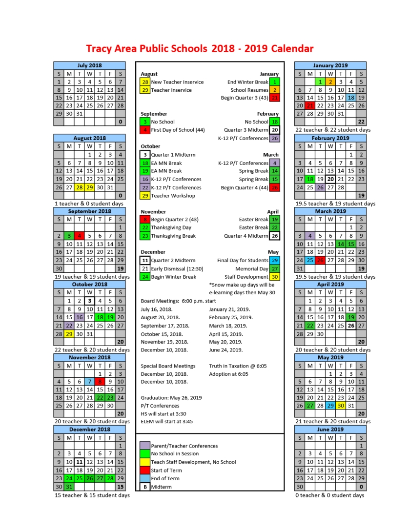 District School District 5 Calendar 2019