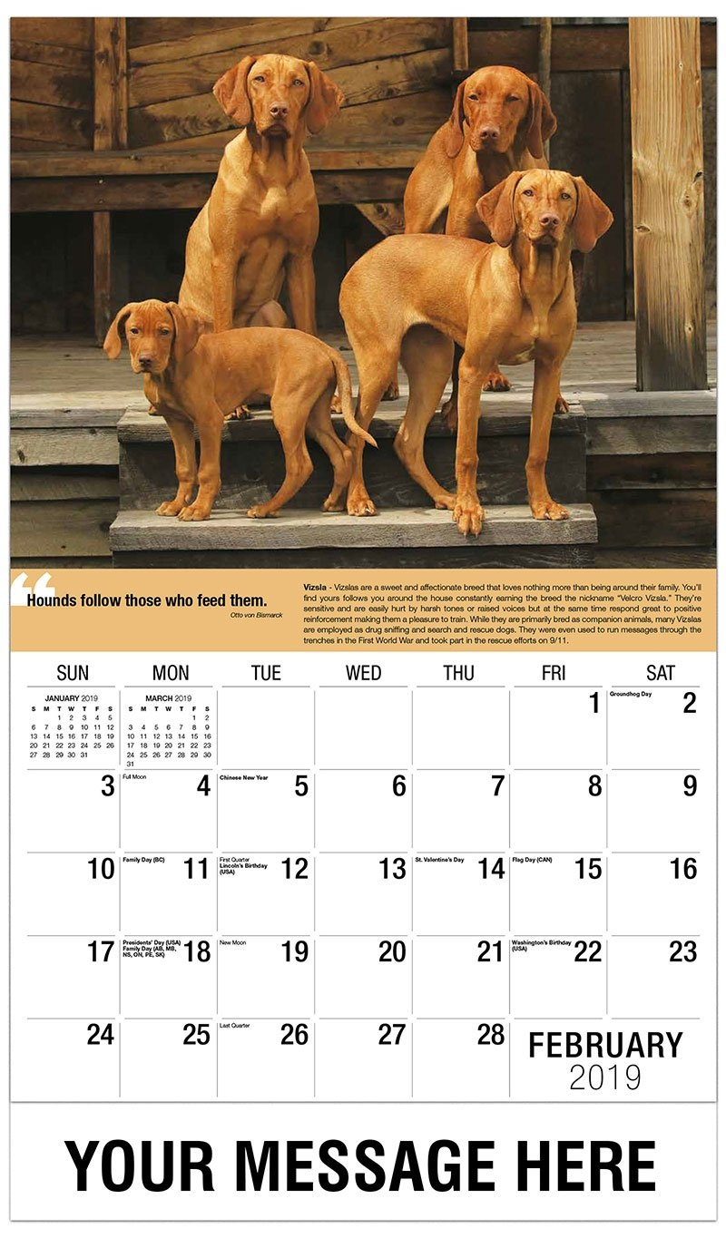 Dogs Promotional Calendar | 65¢ Business Advertsing Calendar Calendar 2019 Dogs