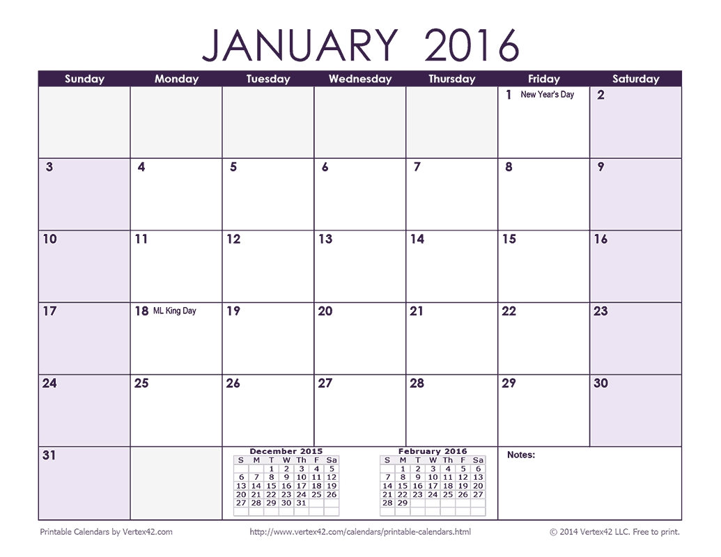 Download A Free 2016 Monthly Calendar - Purple From Vertex42 Calendar 2019 Vertex 42