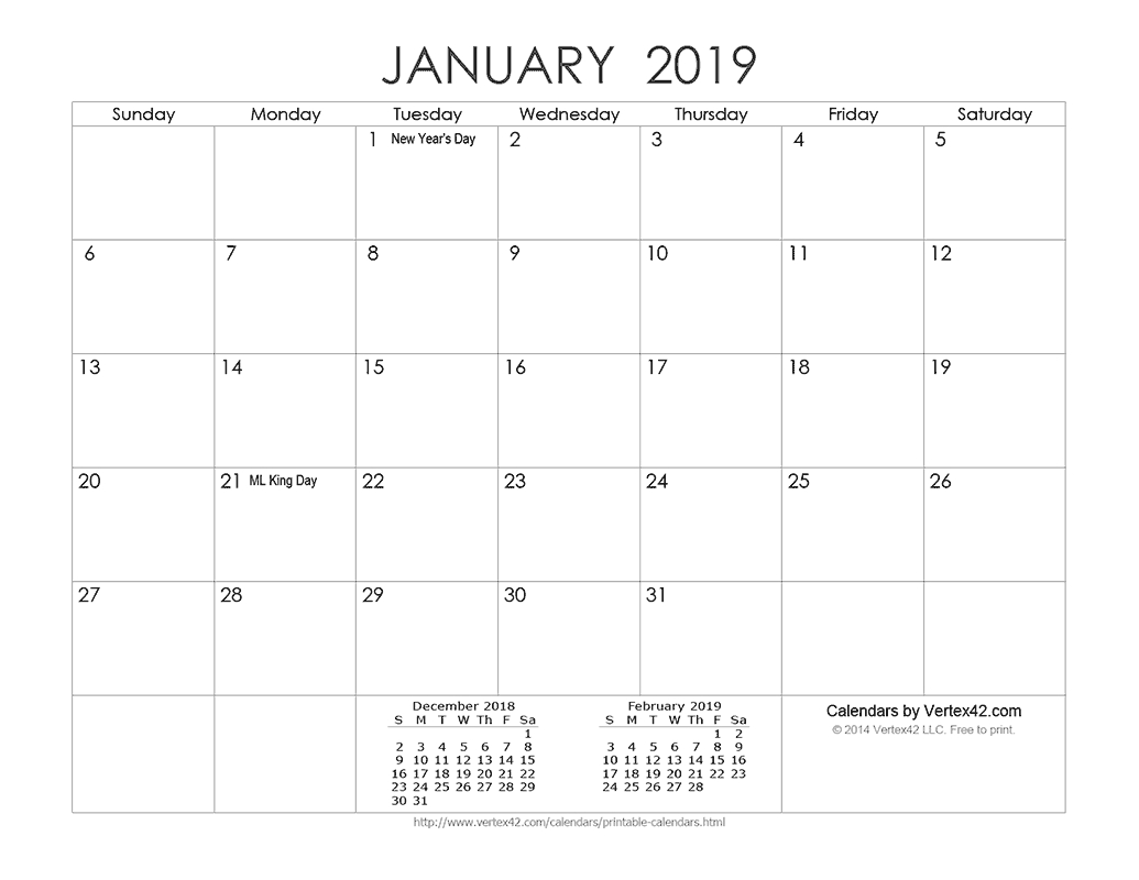 Download A Free Printable Ink Saver 2019 Calendar From Vertex42 Calendar 2019 Vertex 42