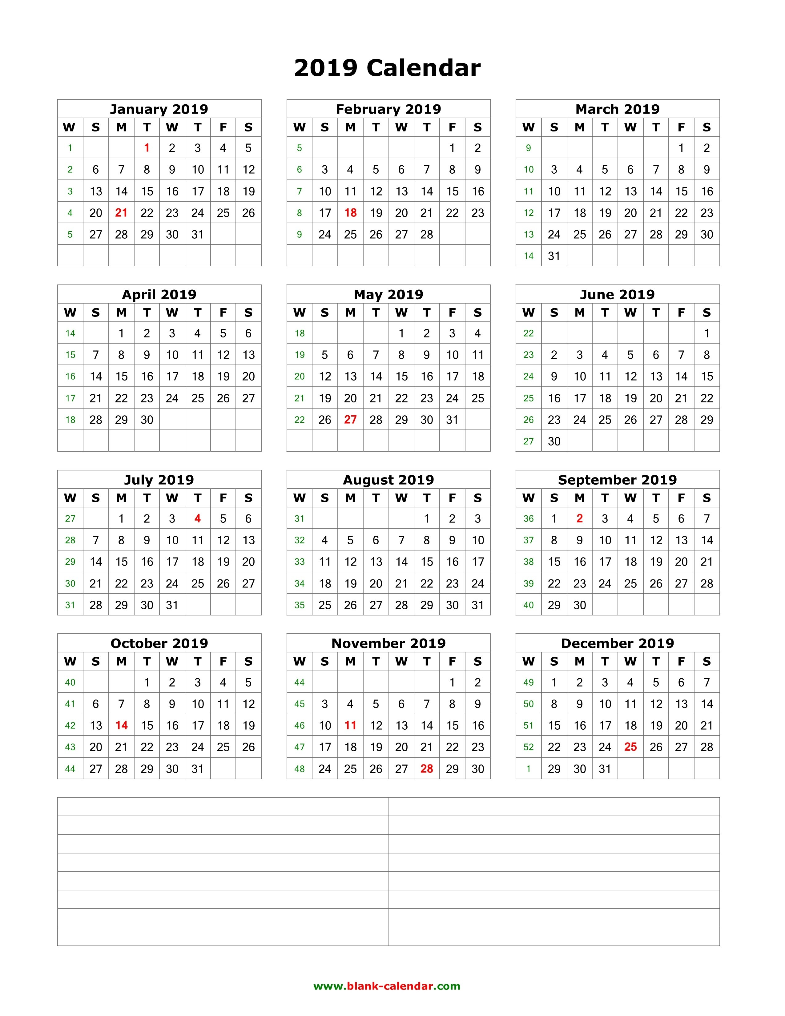 Download Blank Calendar 2019 With Space For Notes (12 Months On One Calendar 2019 1 Page