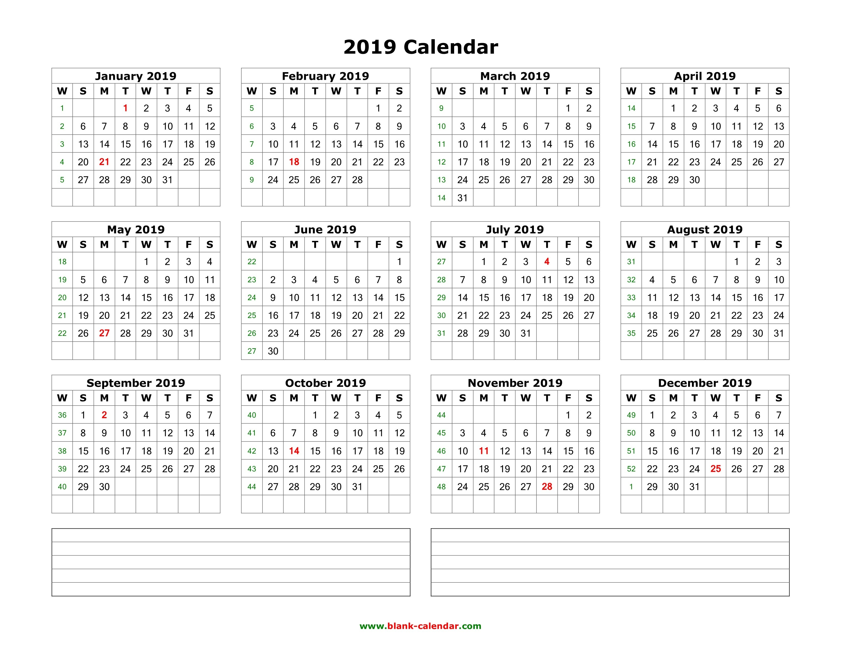 Download Blank Calendar 2019 With Space For Notes (12 Months On One Calendar 2019 By Month