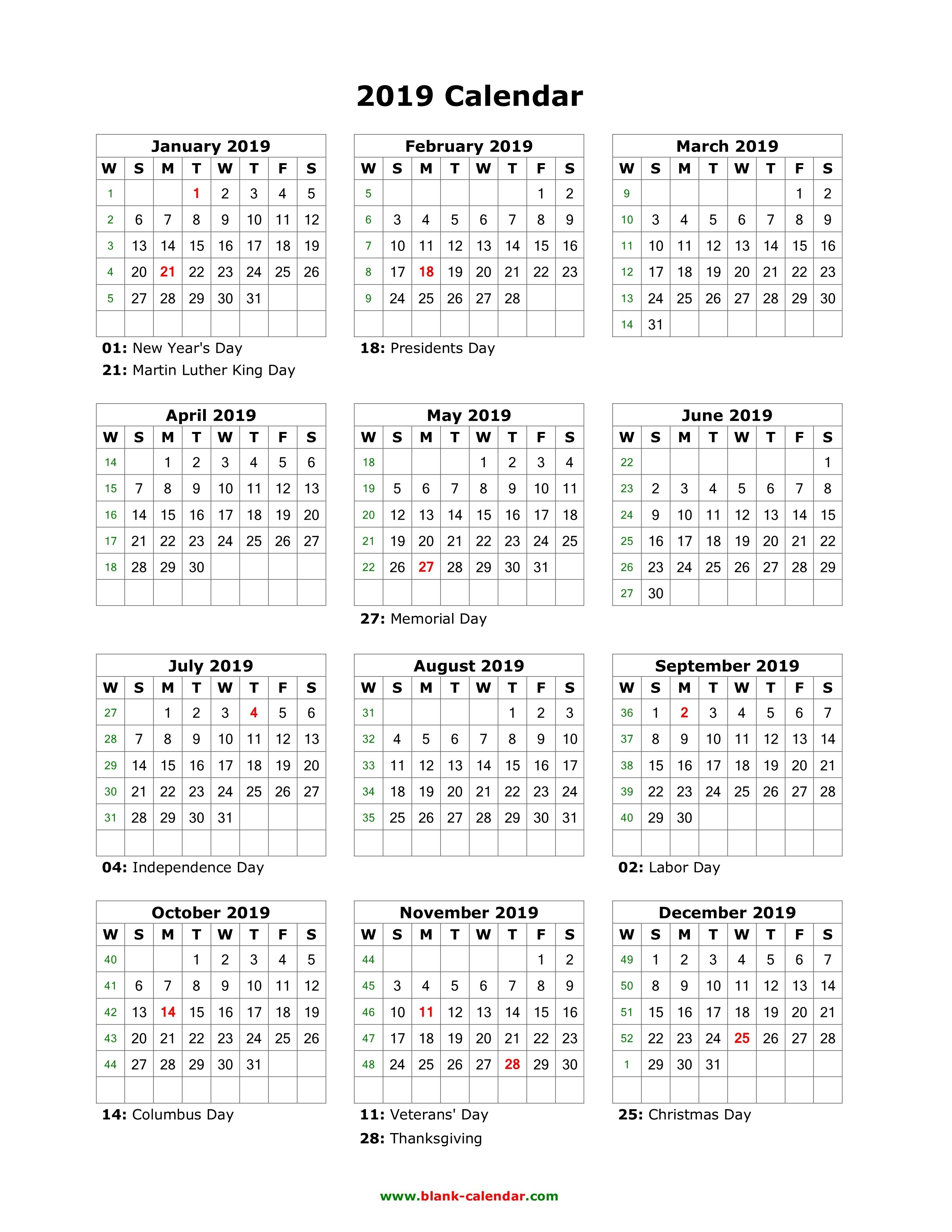 Download Blank Calendar 2019 With Us Holidays (12 Months On One Page Calendar 2019 12 Months