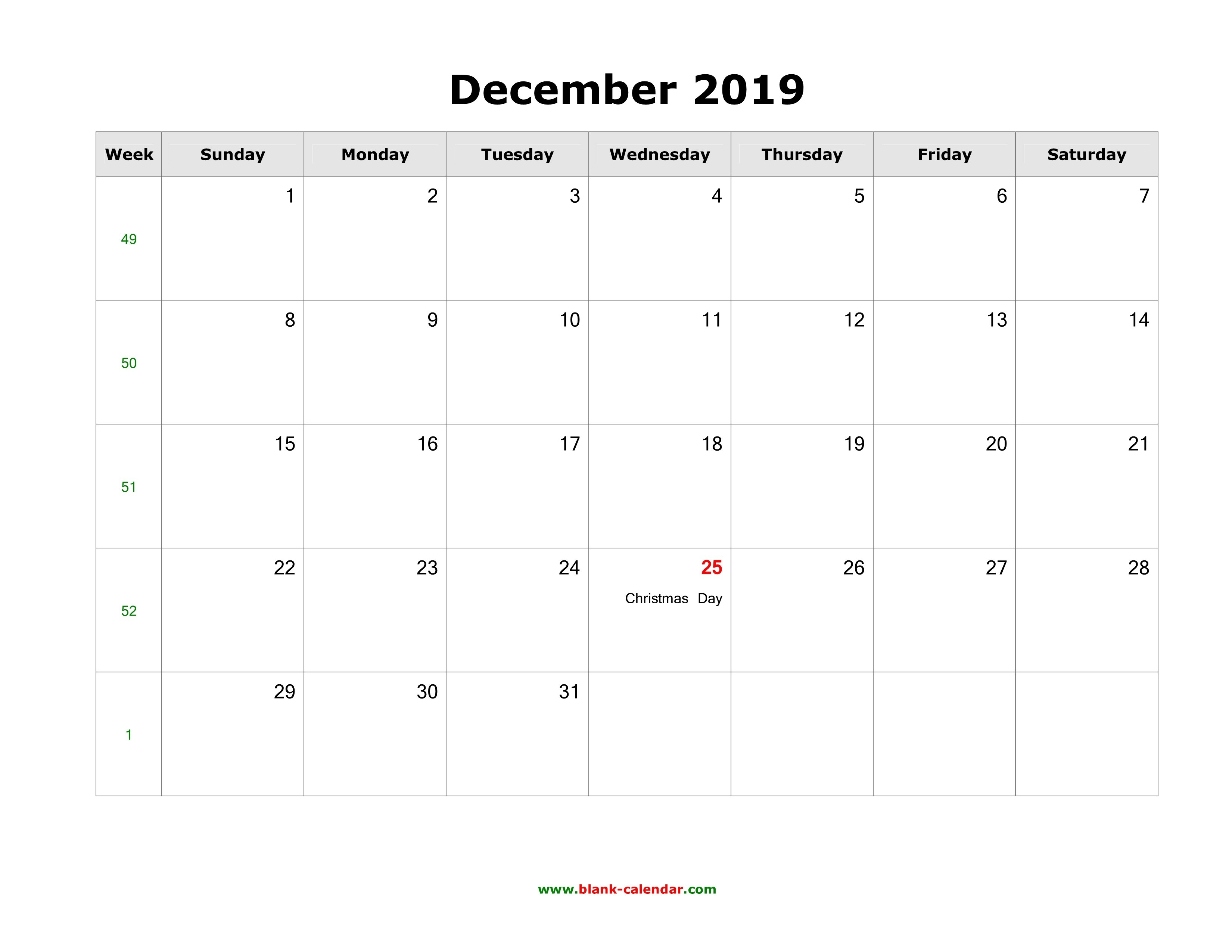 Download December 2019 Blank Calendar With Us Holidays (Horizontal) Calendar 2019 December