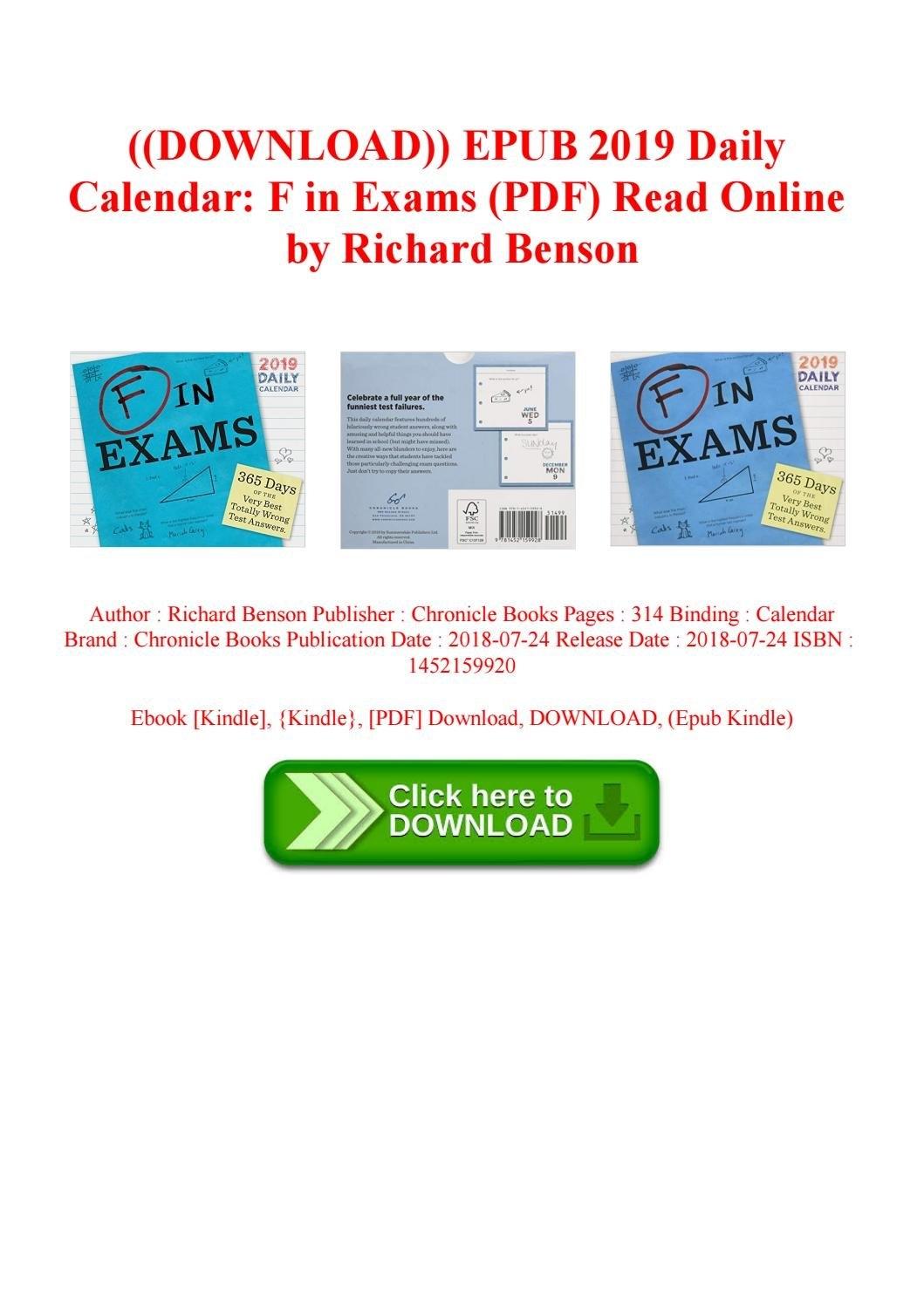 Download)) Epub 2019 Daily Calendar F In Exams (Pdf) Read Online F In Exams 2019 Calendar