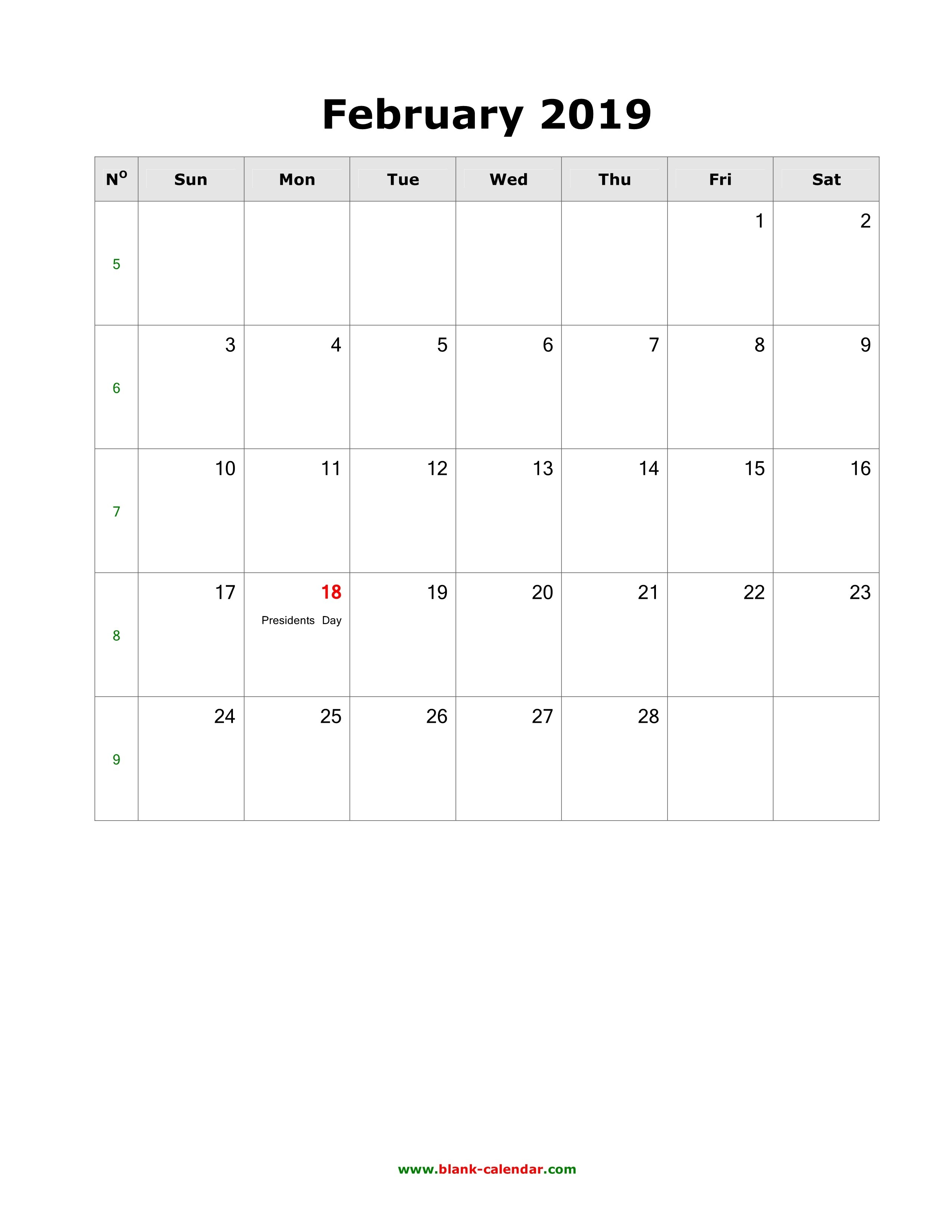Download February 2019 Blank Calendar With Us Holidays (Vertical) Calendar 2019 Including Holidays