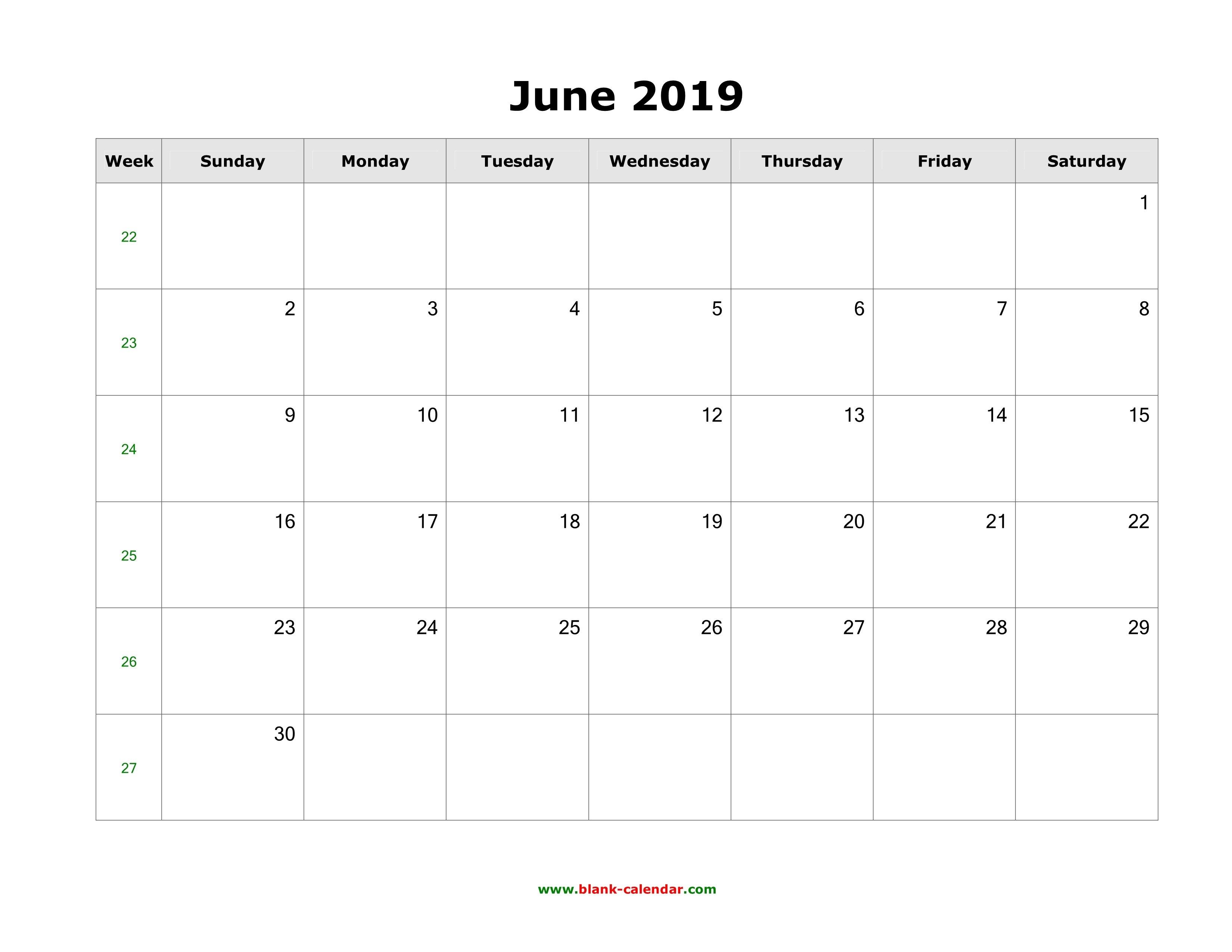 Download June 2019 Blank Calendar (Horizontal) Calendar 2019 May June