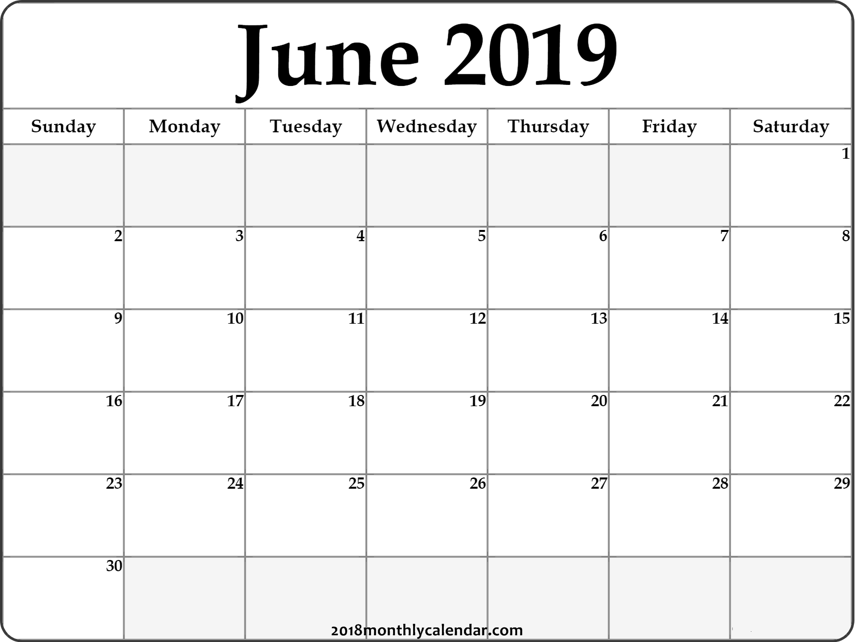 Download June 2019 Printable Calendar - Printable Blank & Editable Calendar 2019 June