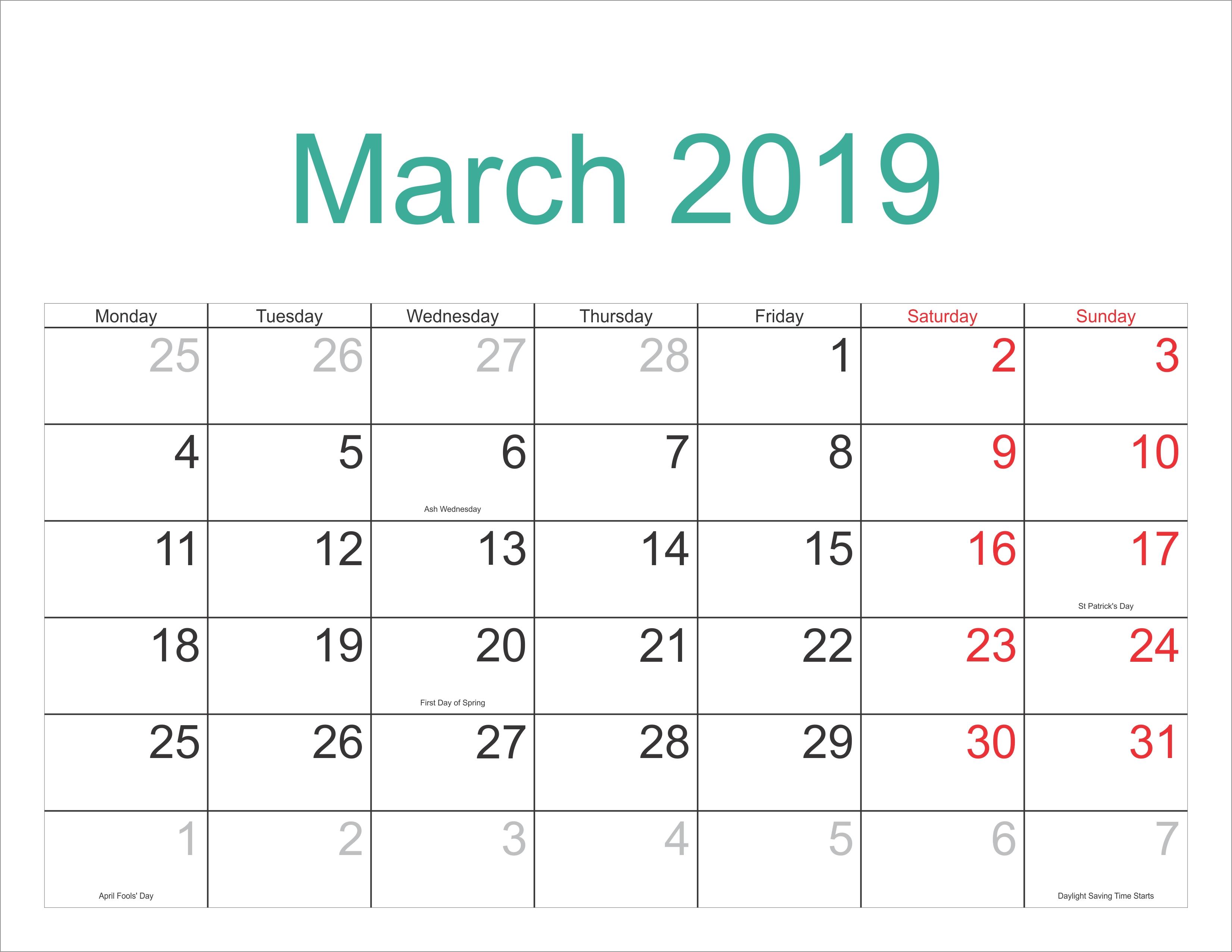Download Printable March 2019 Calendar With Holidays | Calendar 2018 Calendar 2019 Full Moon