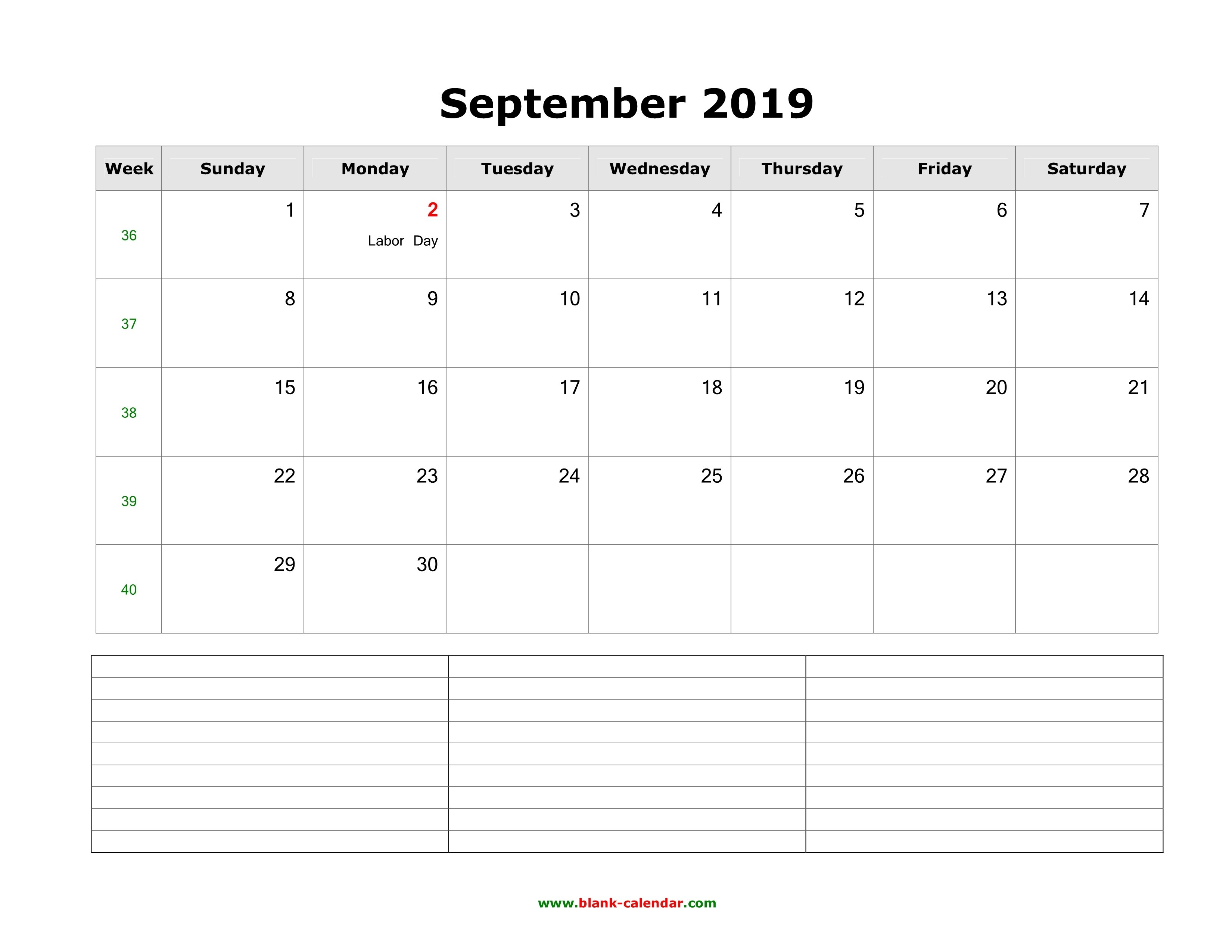 Download September 2019 Blank Calendar With Space For Notes (Horizontal) Calendar 2019 Labor Day