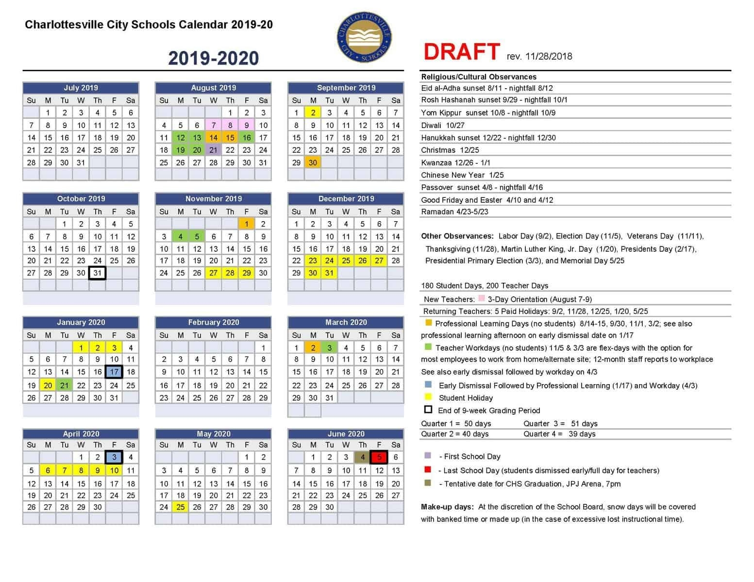 Draft Calendar For 2019-20 | Charlottesville City Schools School Calendar 2019-20