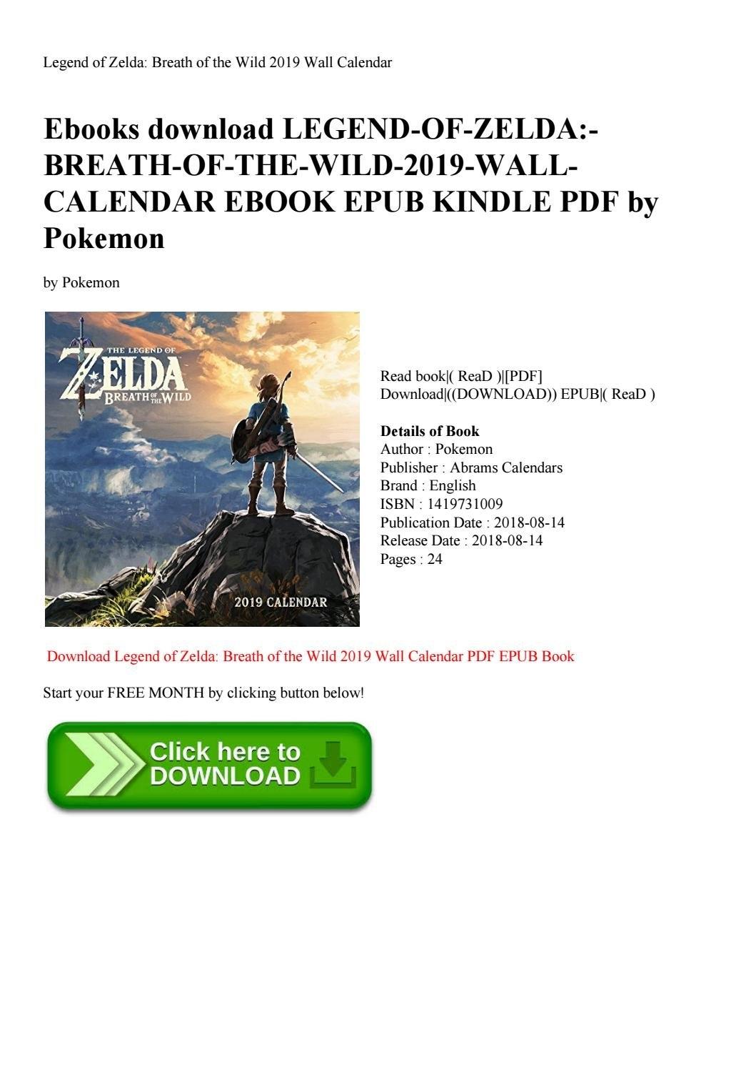 Ebooks Download Legend-Of-Zelda-Breath-Of-The-Wild-2019-Wall Zelda Calendar 2019