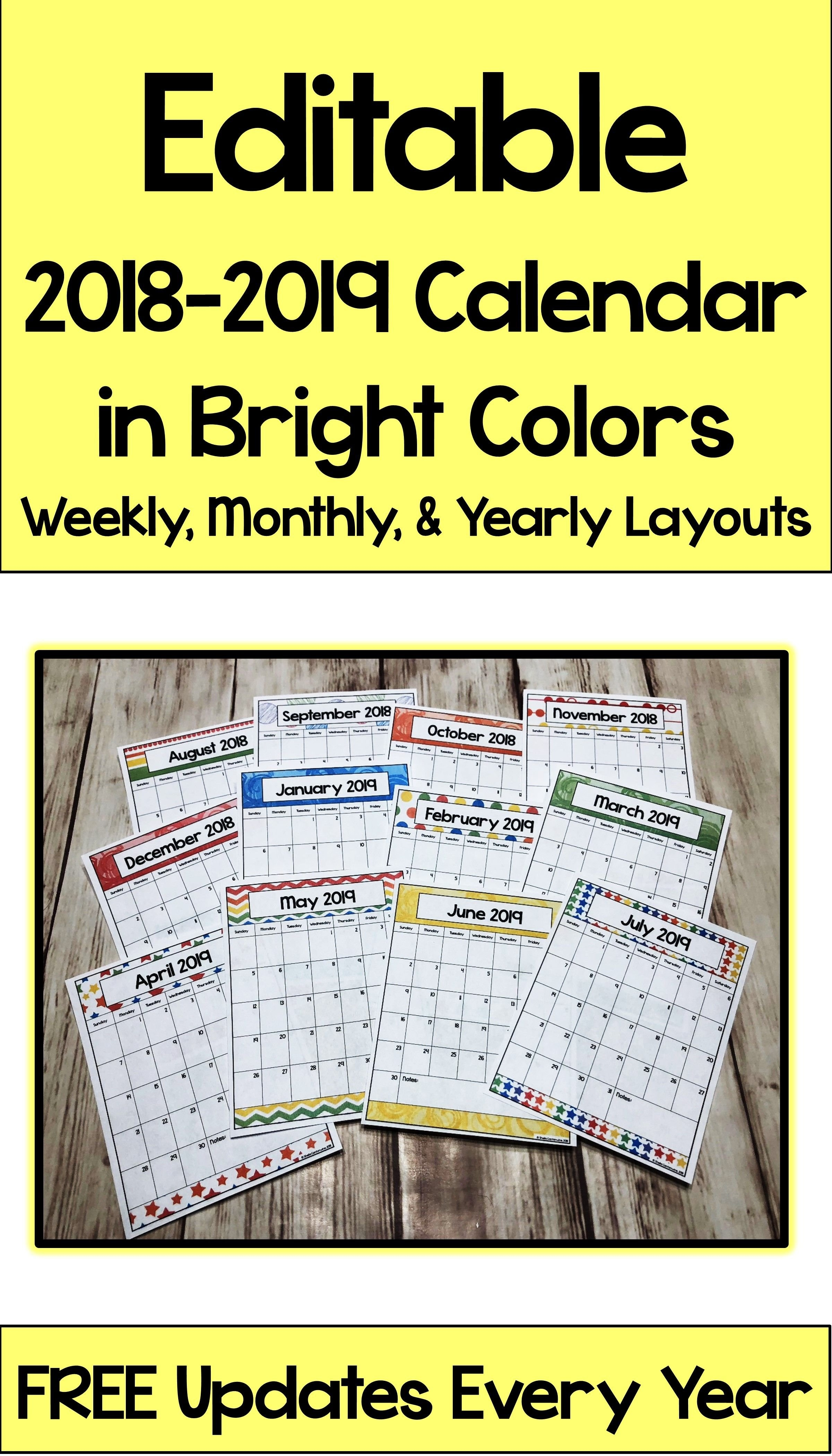 Editable Calendar 2019-2020 In Bright Colors With Automatic Updates Calendar 2019 Purchase