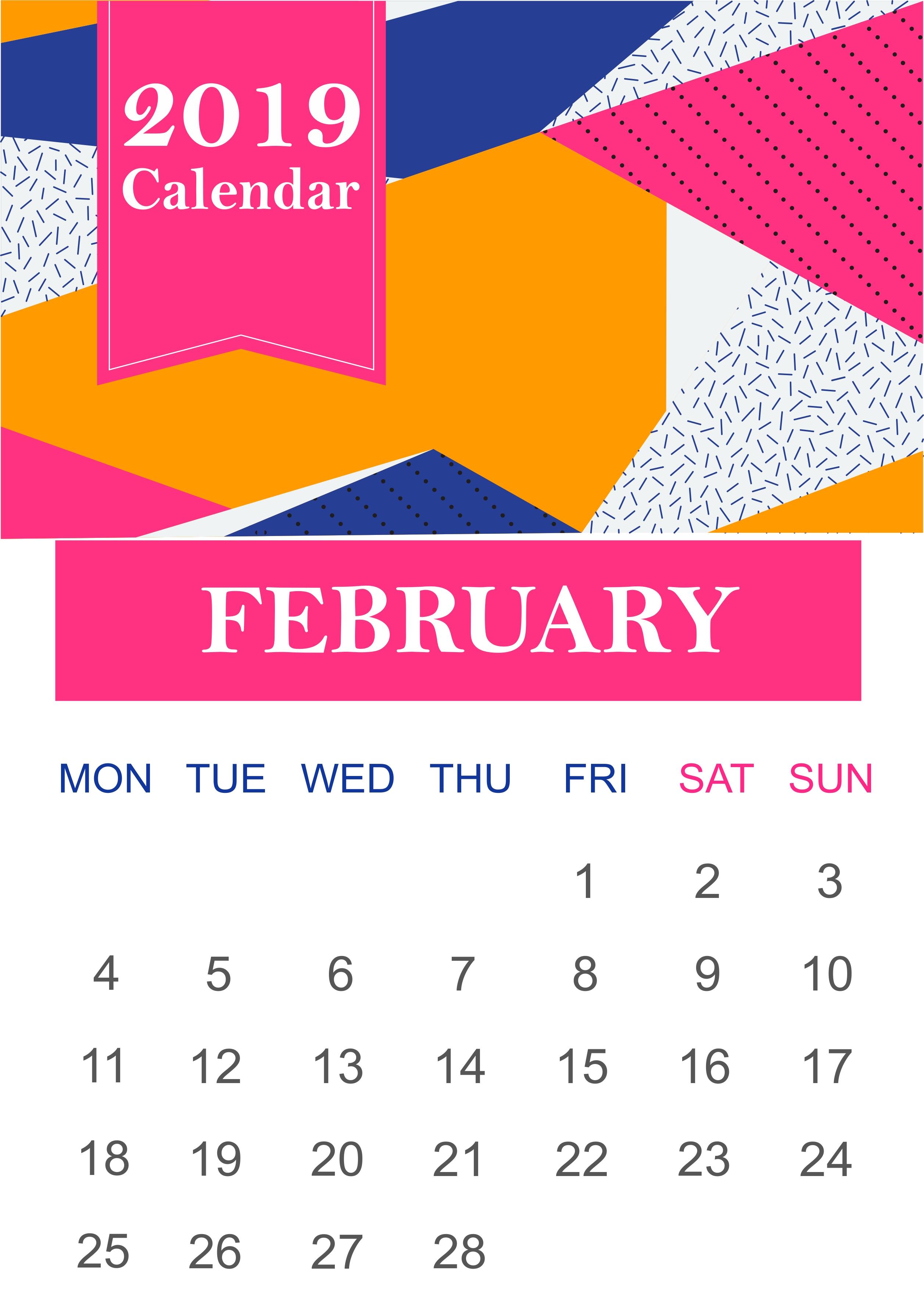 Editable Calendar February 2019 Template #februarycalendar Calendar Feb 9 2019