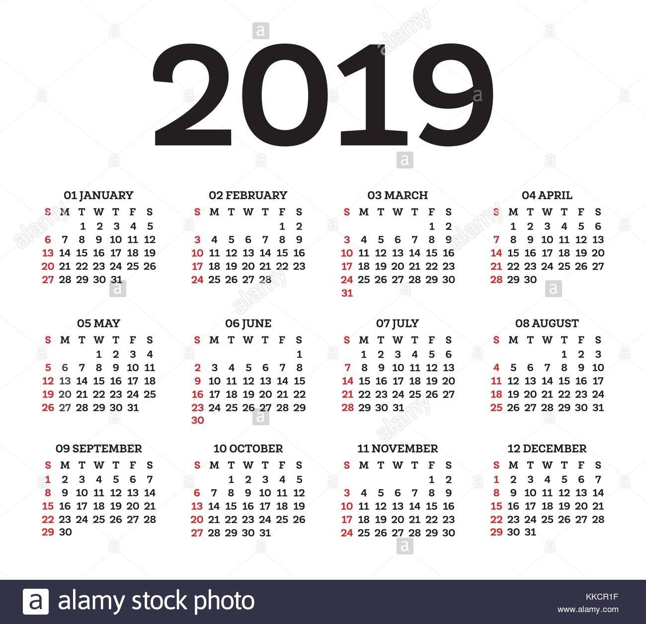 England Date Stock Vector Images - Alamy Calendar 2019 Romanesc