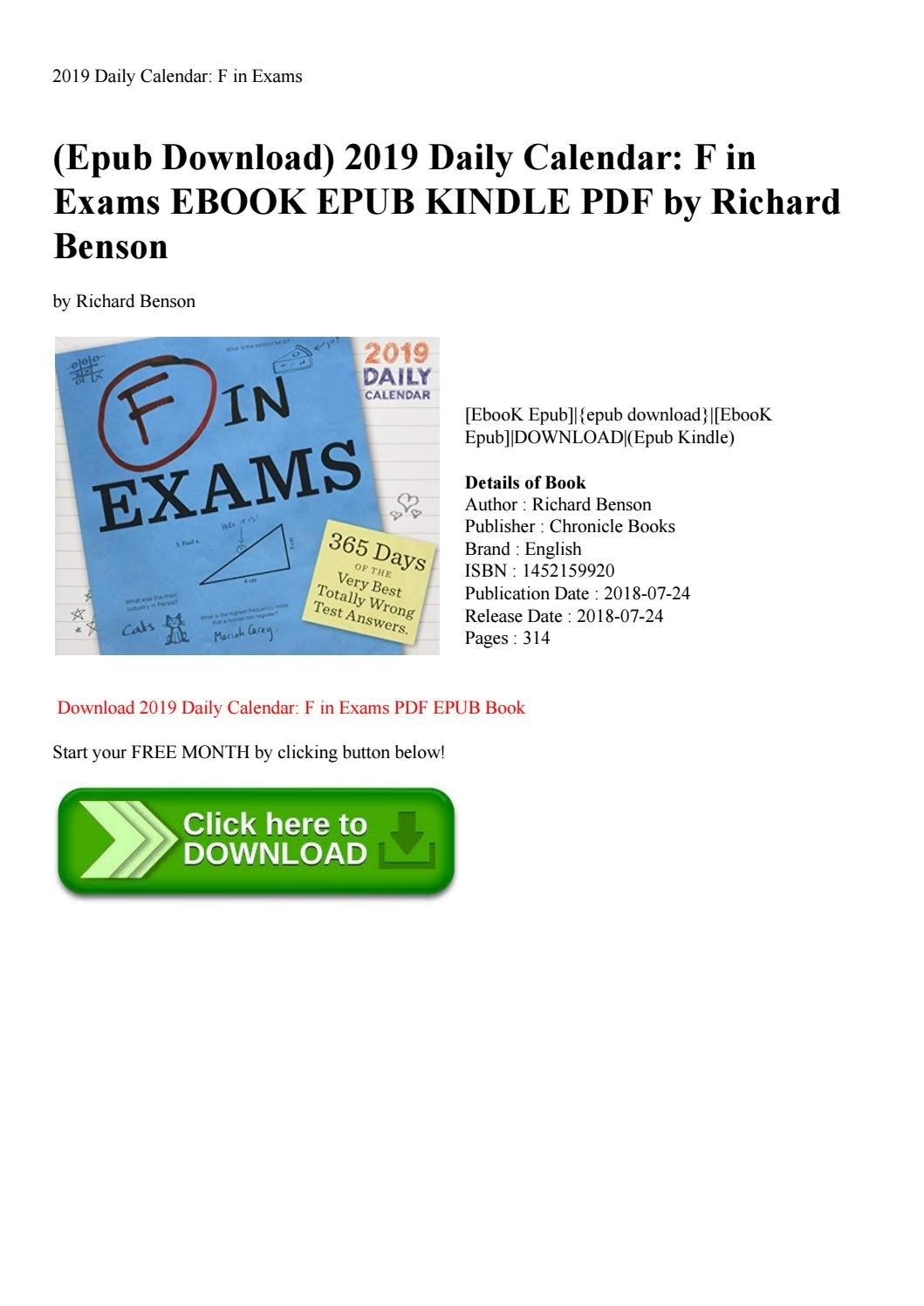 Epub Download) 2019 Daily Calendar F In Exams Ebook Epub Kindle Pdf F In Exams 2019 Calendar