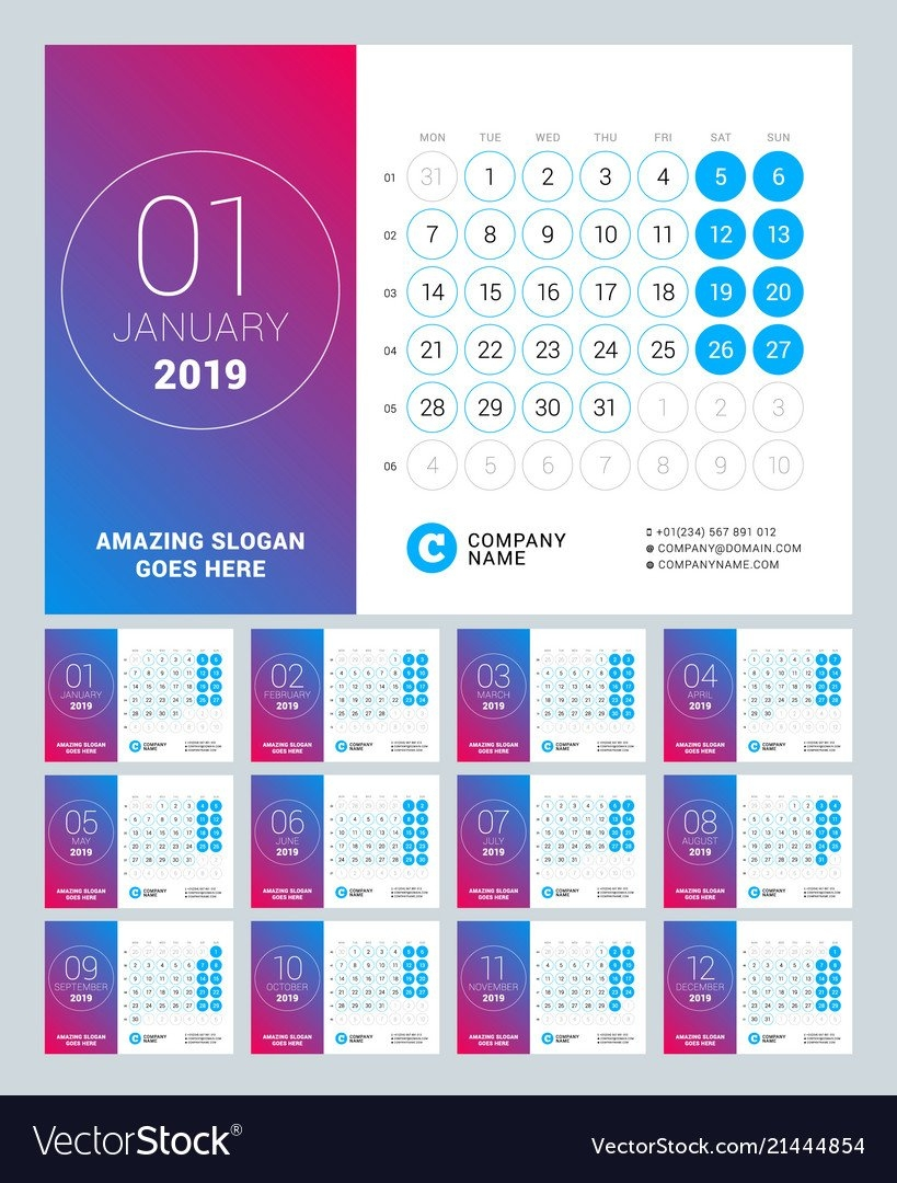 Esk Calendar For 2019 Year Set Of 12 Pages Design Vector Image 2019 Calendar 12 Pages