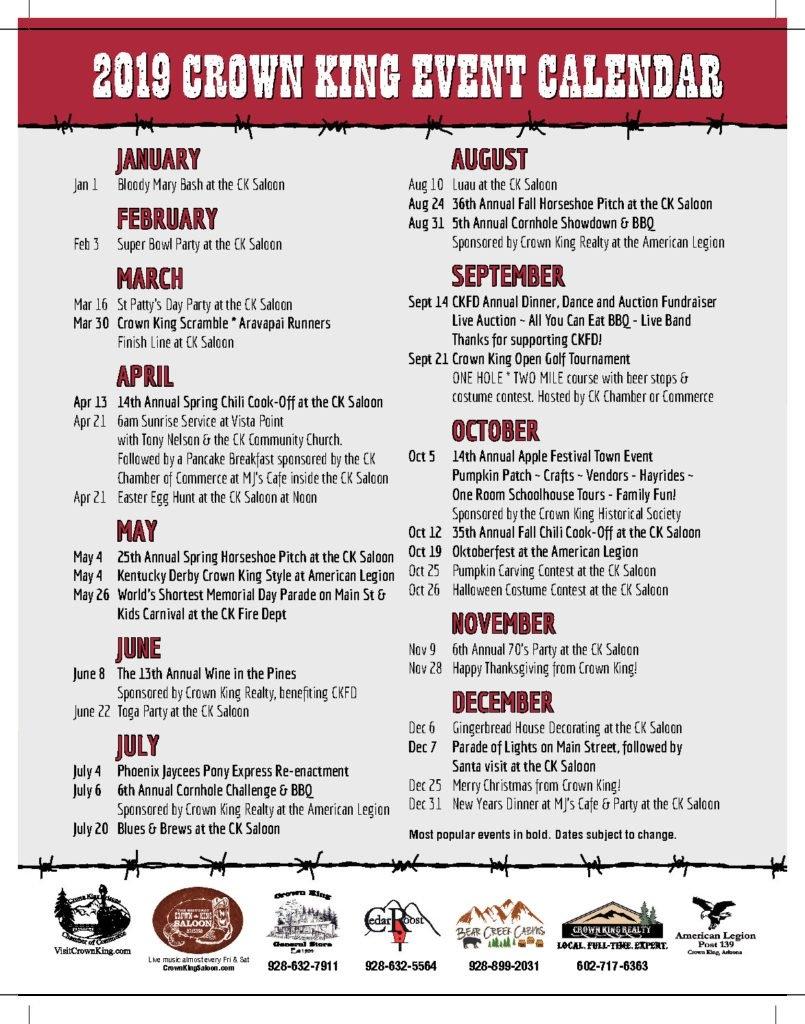 Events – Crown King Az | Far From Ordinary C&k Calendar 2019