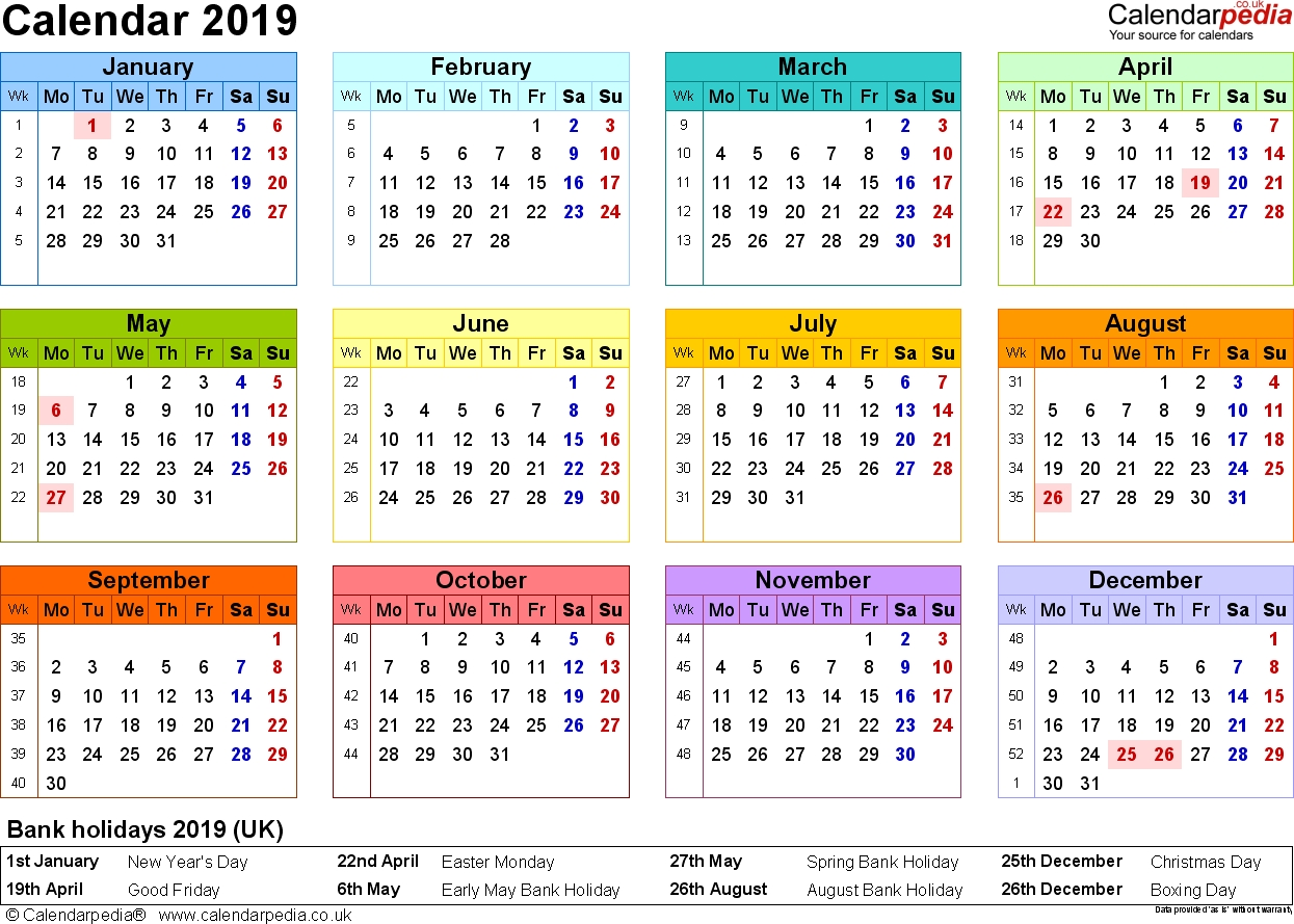 Excel Calendar 2019 (Uk): 16 Printable Templates (Xlsx, Free) Calendar 2019 Europe