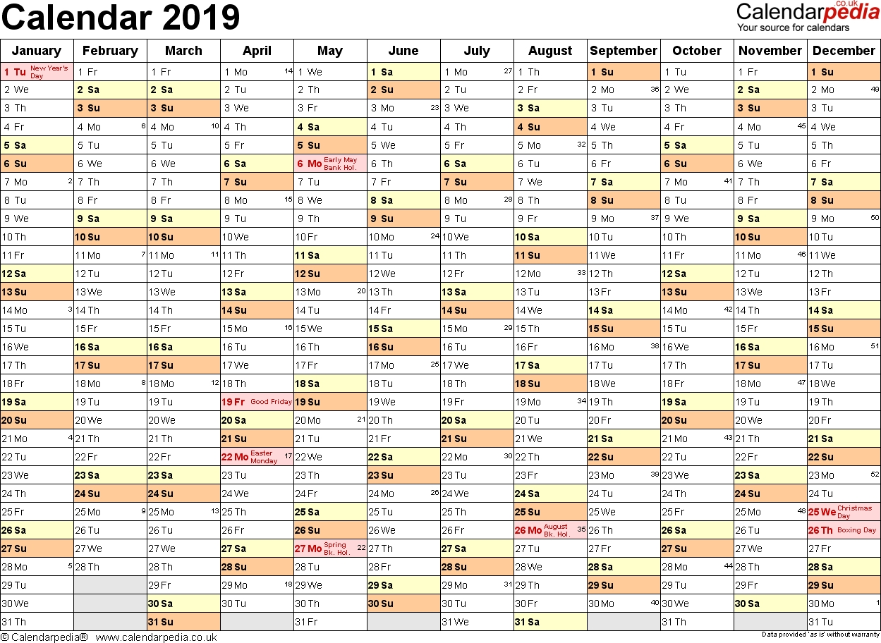Excel Calendar 2019 (Uk): 16 Printable Templates (Xlsx, Free) Calendar 2019 Excel By Week