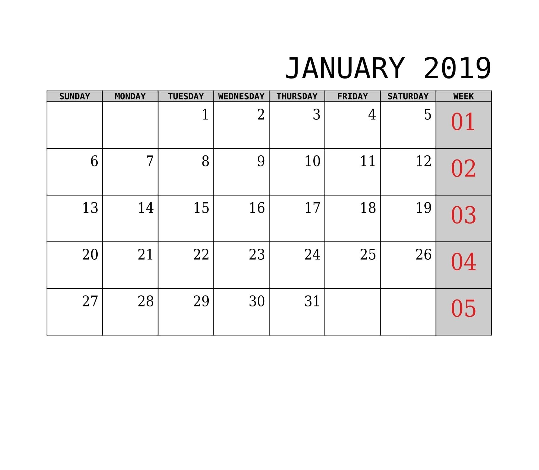 Excel, Pdf, Word 2019 January Printable Calendar – April 2019 Calendar 2019 Download Word