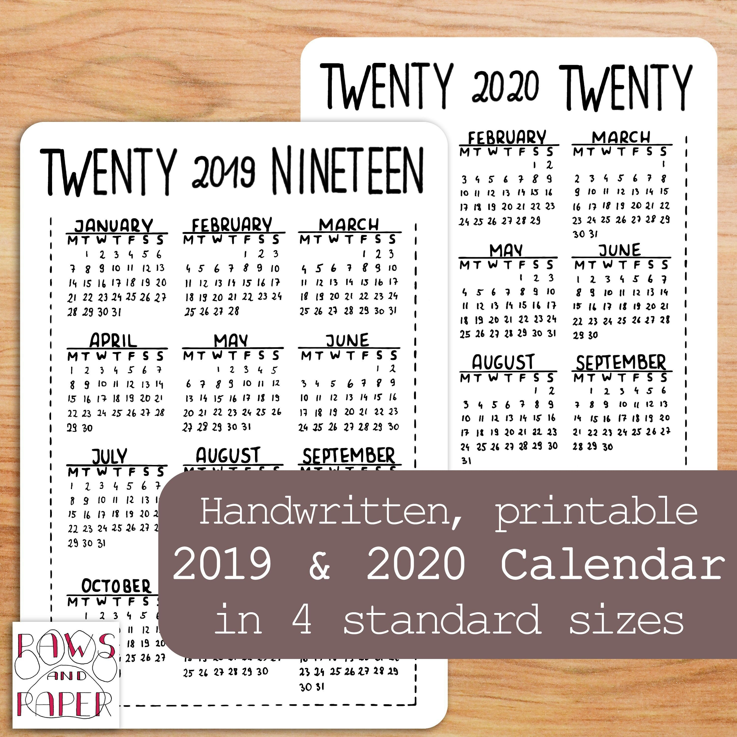 Excited To Share This Item From My #etsy Shop: 2019 2020 Printable Calendar 2019 Shop