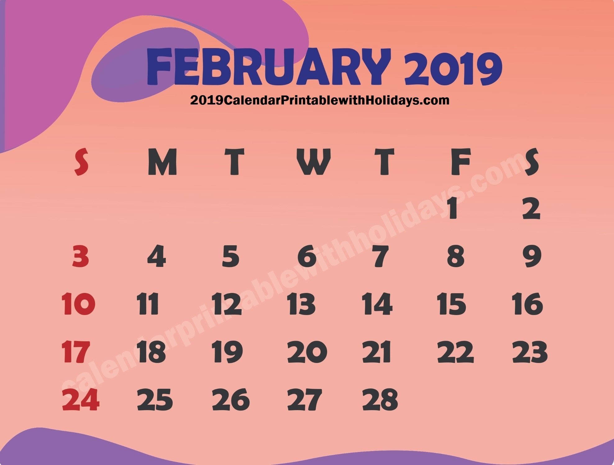 February 2019 Calendar - 2019 Calendar Printable With Holidays Template Feb 9 2019 Calendar