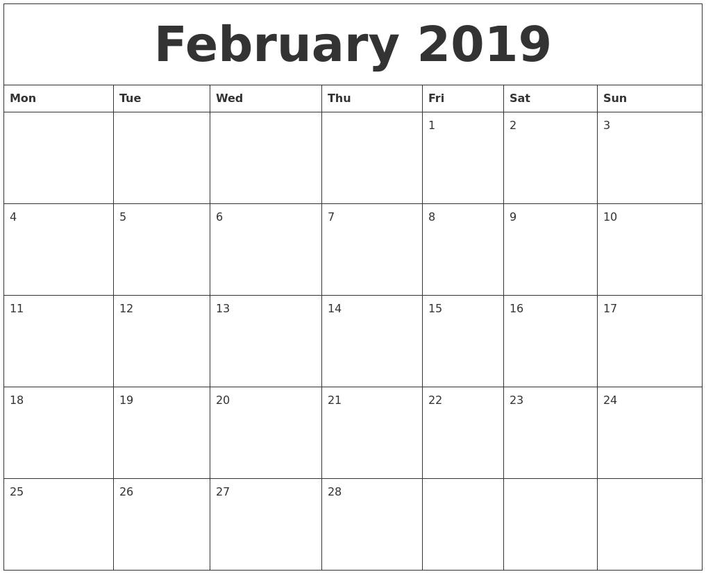 February 2019 Calendar Calendar 2019 Excel Starting Monday