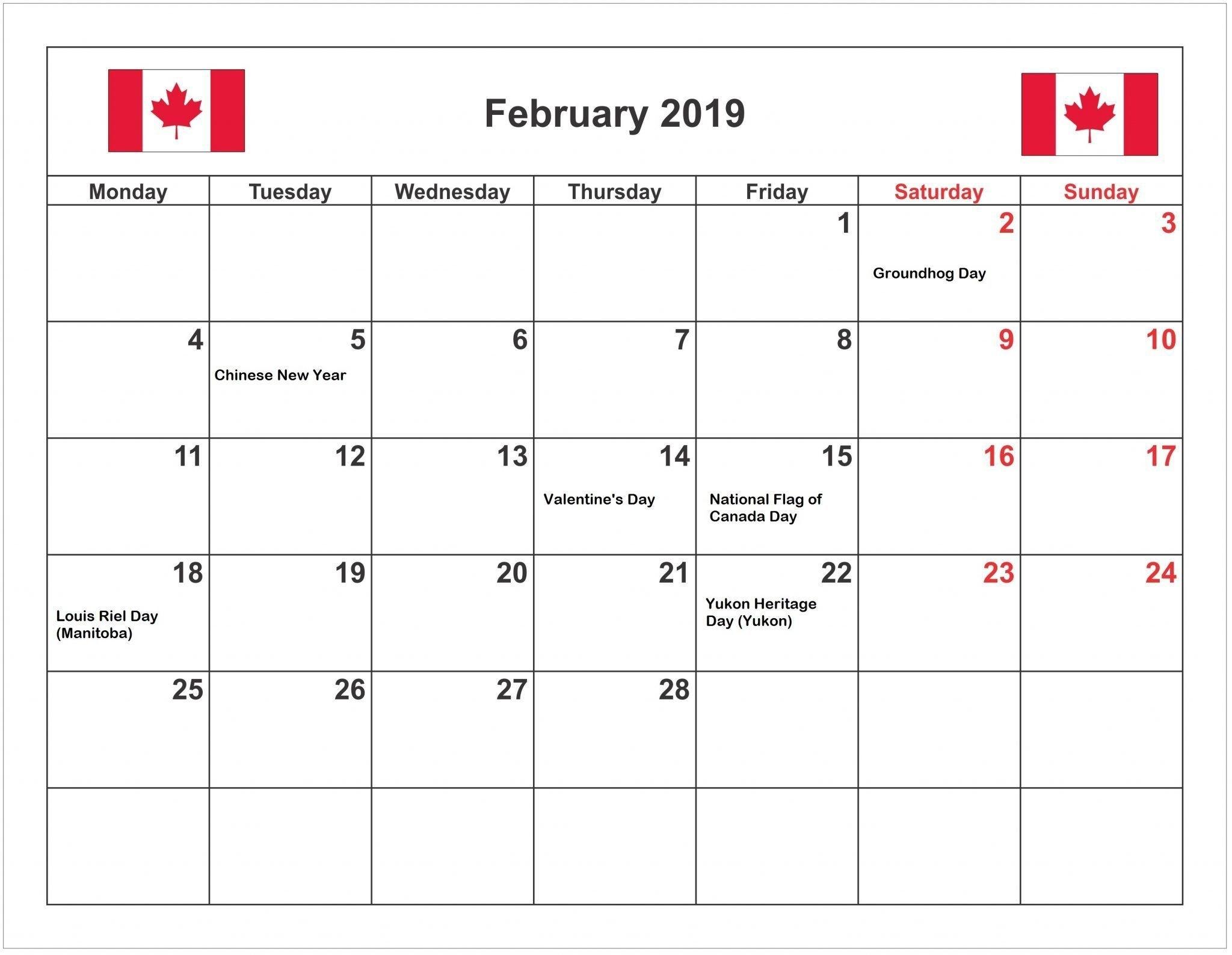 February 2019 Calendar Canada With Holidays | February 2019 Calendar Calendar 2019 Canada Holidays