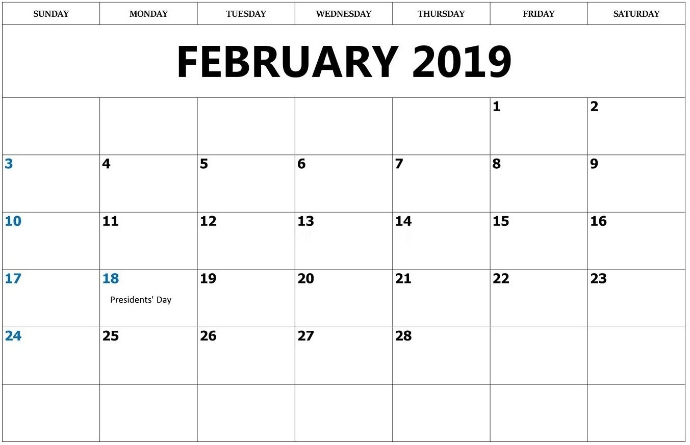 February 2019 Calendar Outline - Printable Calendar Templates Calendar 2019 Outline