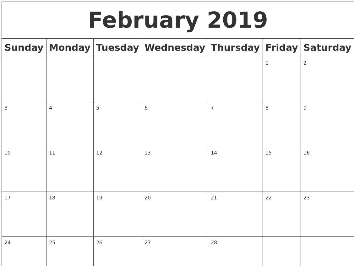 February 2019 Calendar Pdf, Excel, Word [Download} | Calendar 2018 Calendar 2019 Download Word