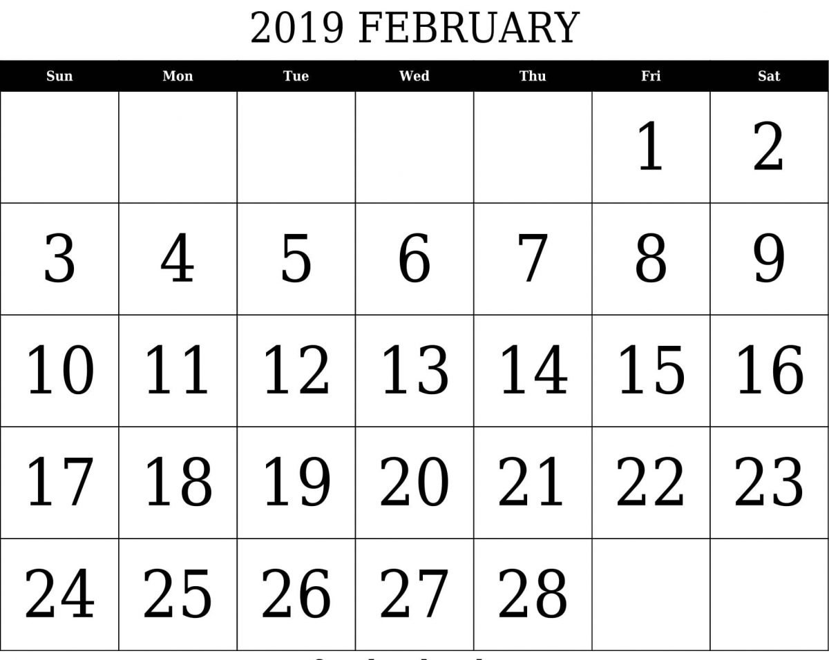 February 2019 Calendar South Africa Blank Template Printable Word Pdf Feb 5 2019 Calendar