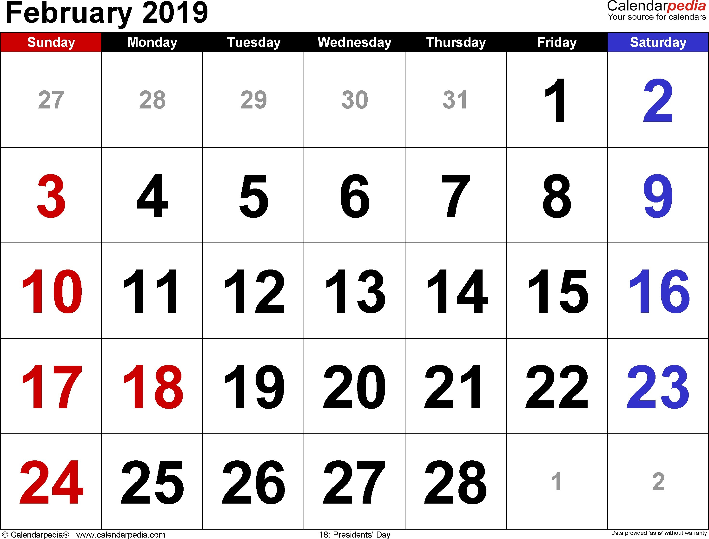 February 2019 Calendar Template | Year Printable Calendar Calendar 2019 Qu