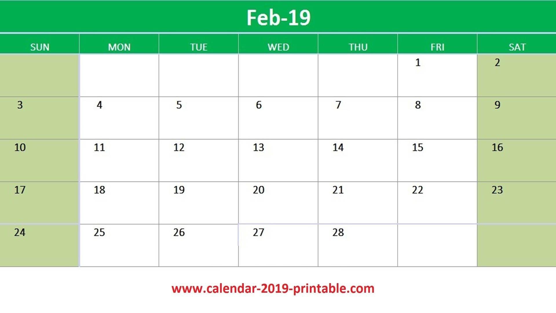 February 2019 Excel Calendar Printable   2019 Calendars   Calendar Calendar 2019 Excel Germany