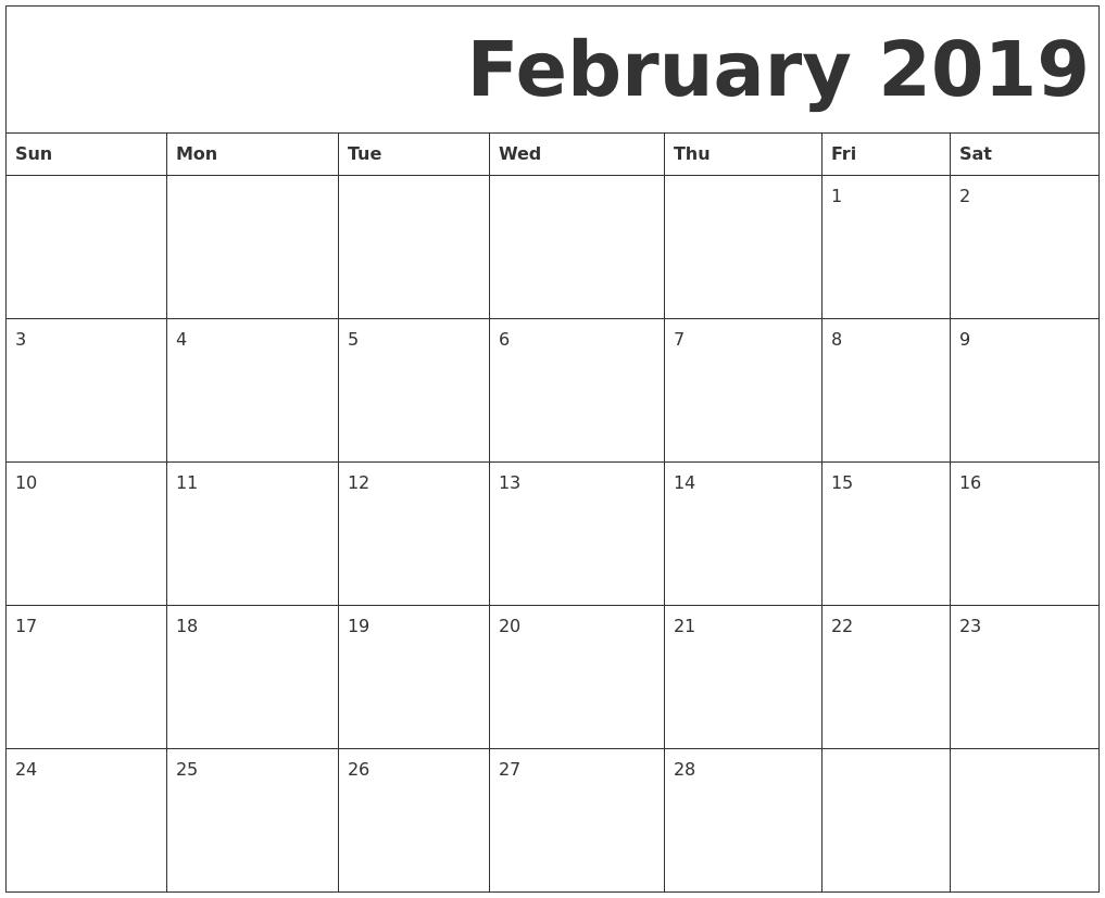 February 2019 Free Printable Calendar Print A Calendar 2019 Free