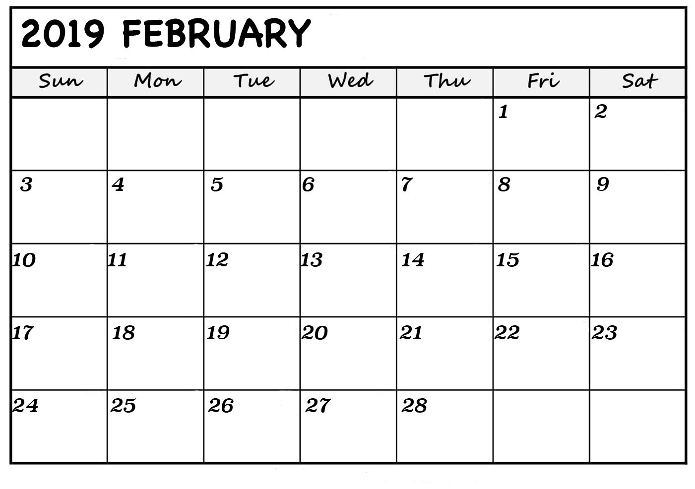 February 2019 Printable Calendars - Fresh Calendars A Calendar For February 2019