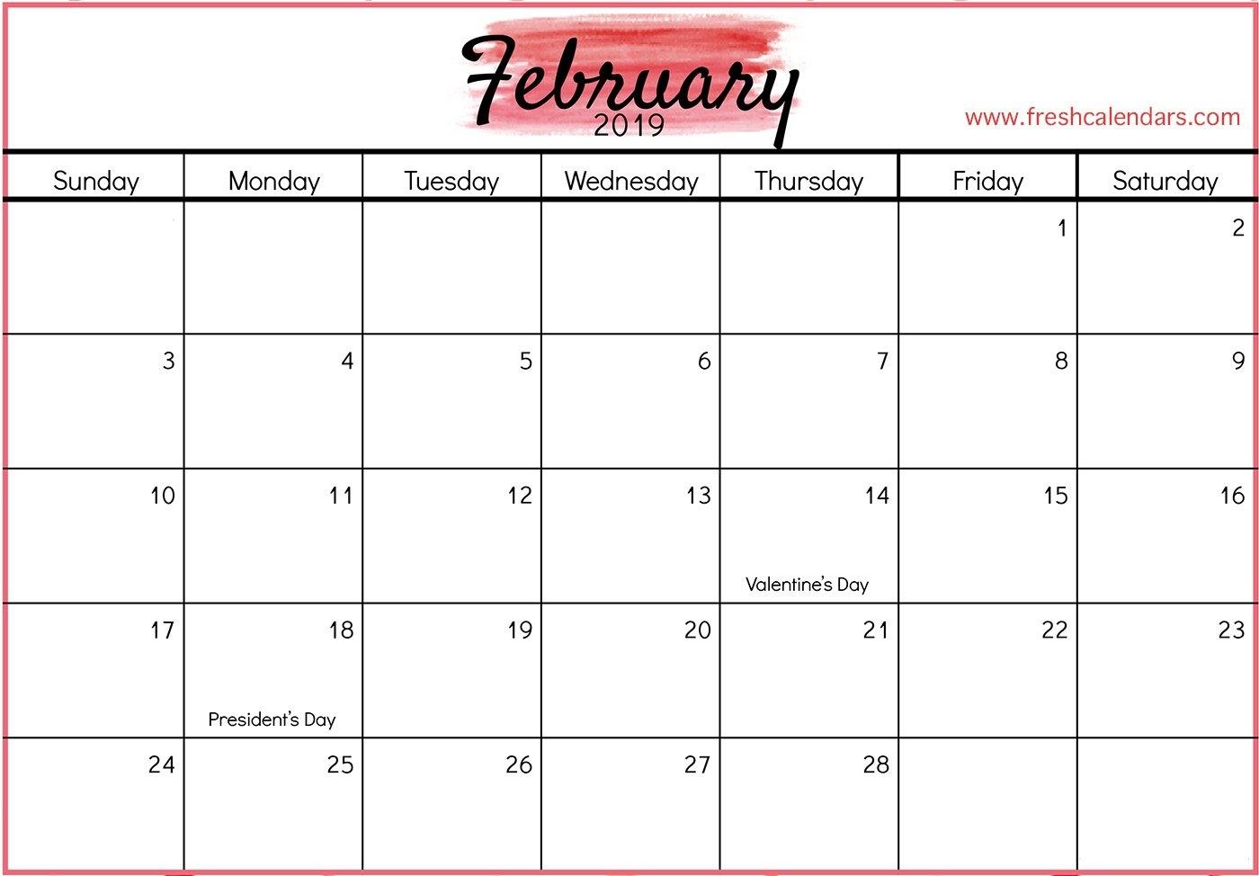 February 2019 Printable Calendars - Fresh Calendars Calendar 2019 February