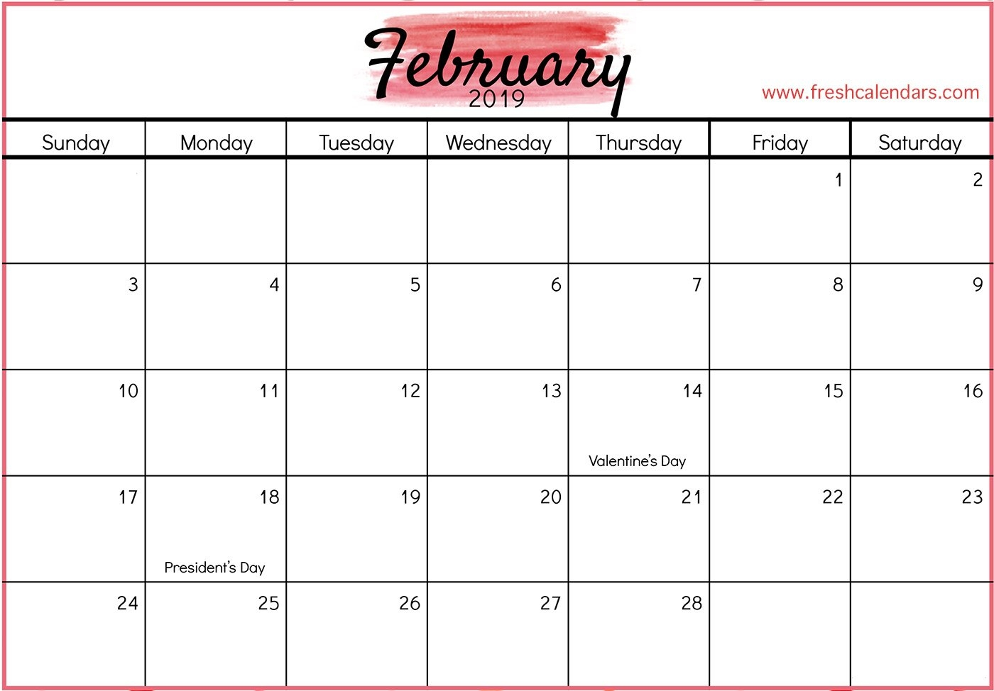 February 2019 Printable Calendars - Fresh Calendars Calendar Feb 9 2019