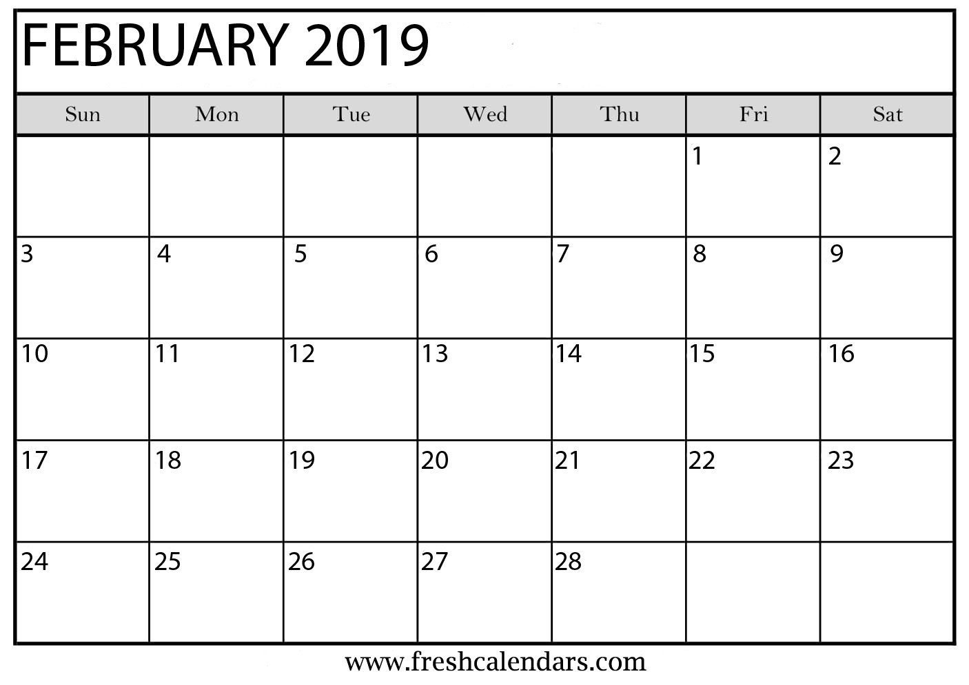 February 2019 Printable Calendars - Fresh Calendars Feb 5 2019 Calendar