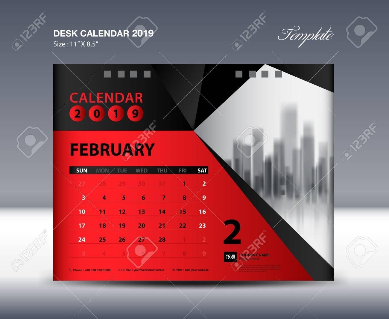 February Desk Calendar 2019 Template, Week Starts Sunday, Stationery X Files Calendar 2019